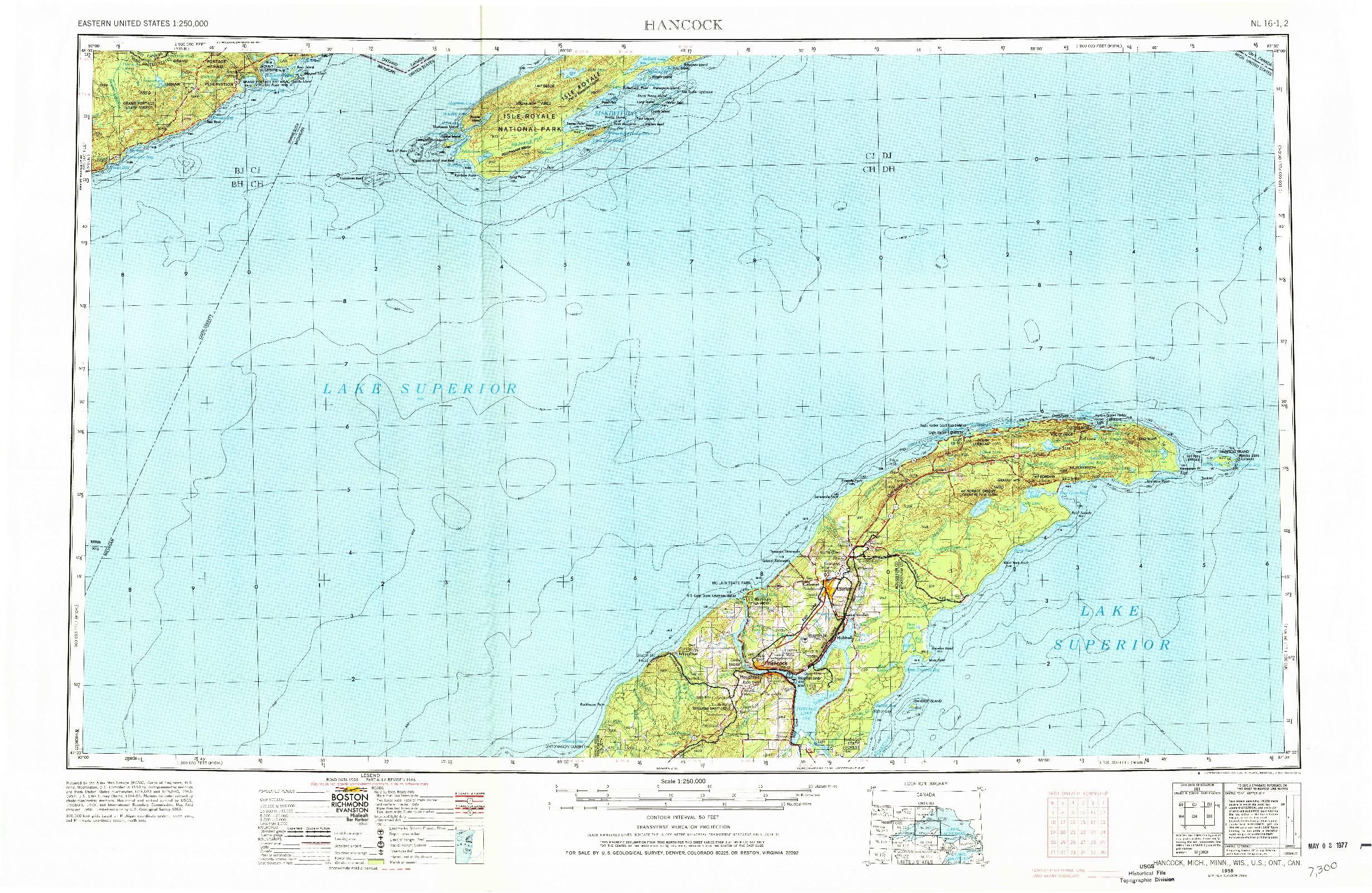 USGS 1:250000-SCALE QUADRANGLE FOR HANCOCK, MI 1958