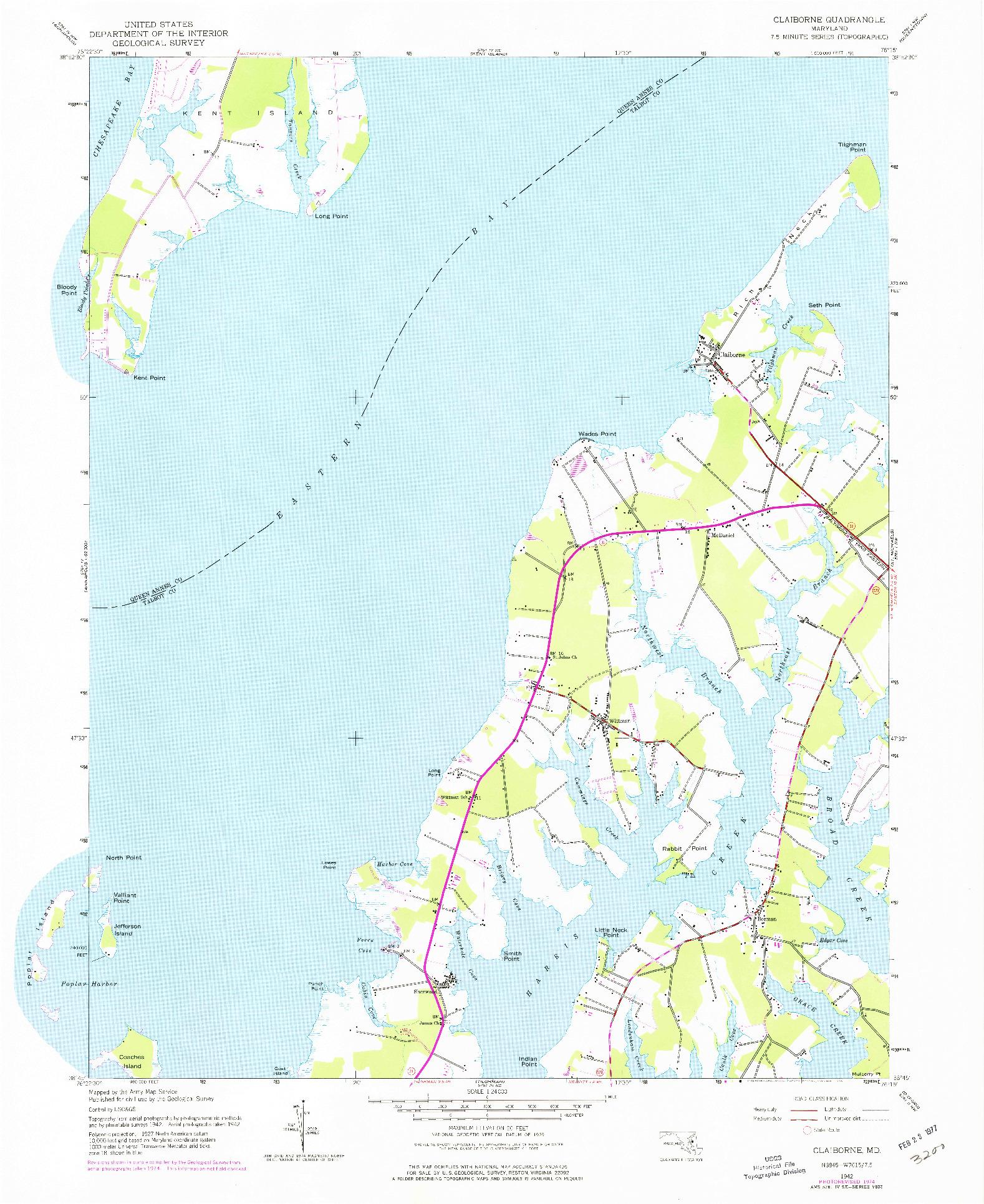 USGS 1:24000-SCALE QUADRANGLE FOR CLAIBORNE, MD 1942