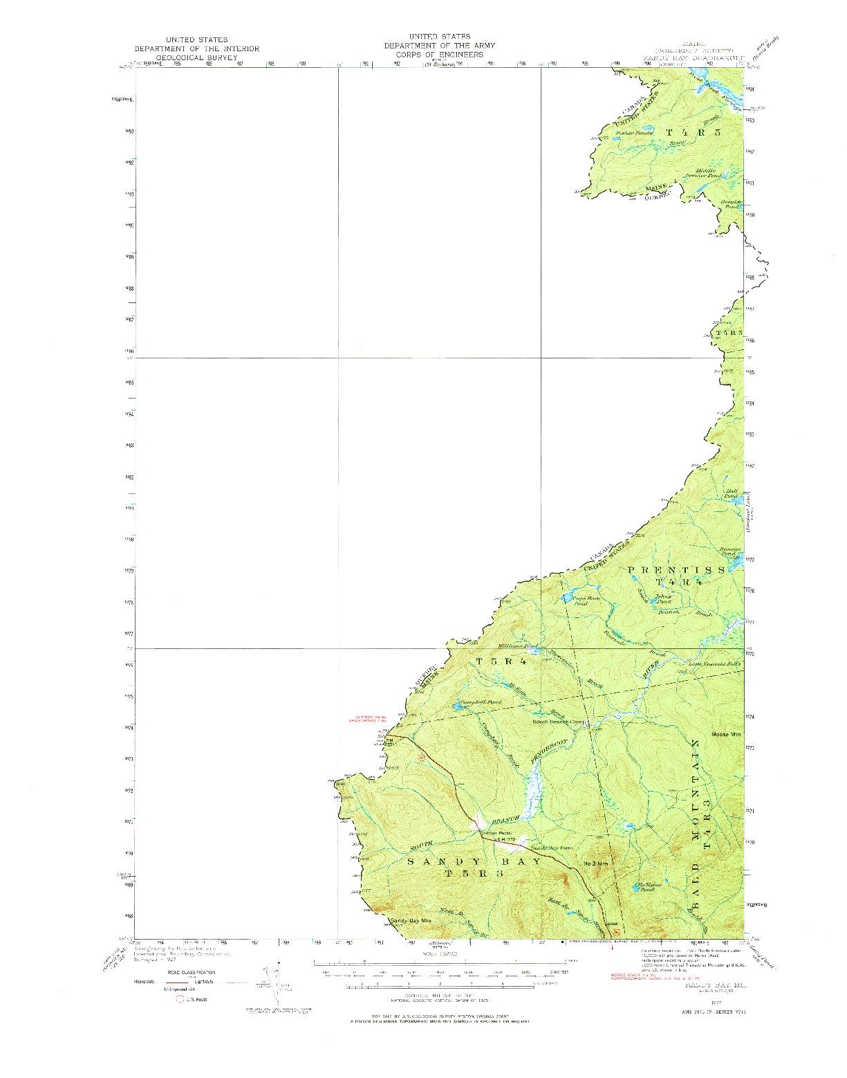 USGS 1:62500-SCALE QUADRANGLE FOR SANDY BAY, ME 1927