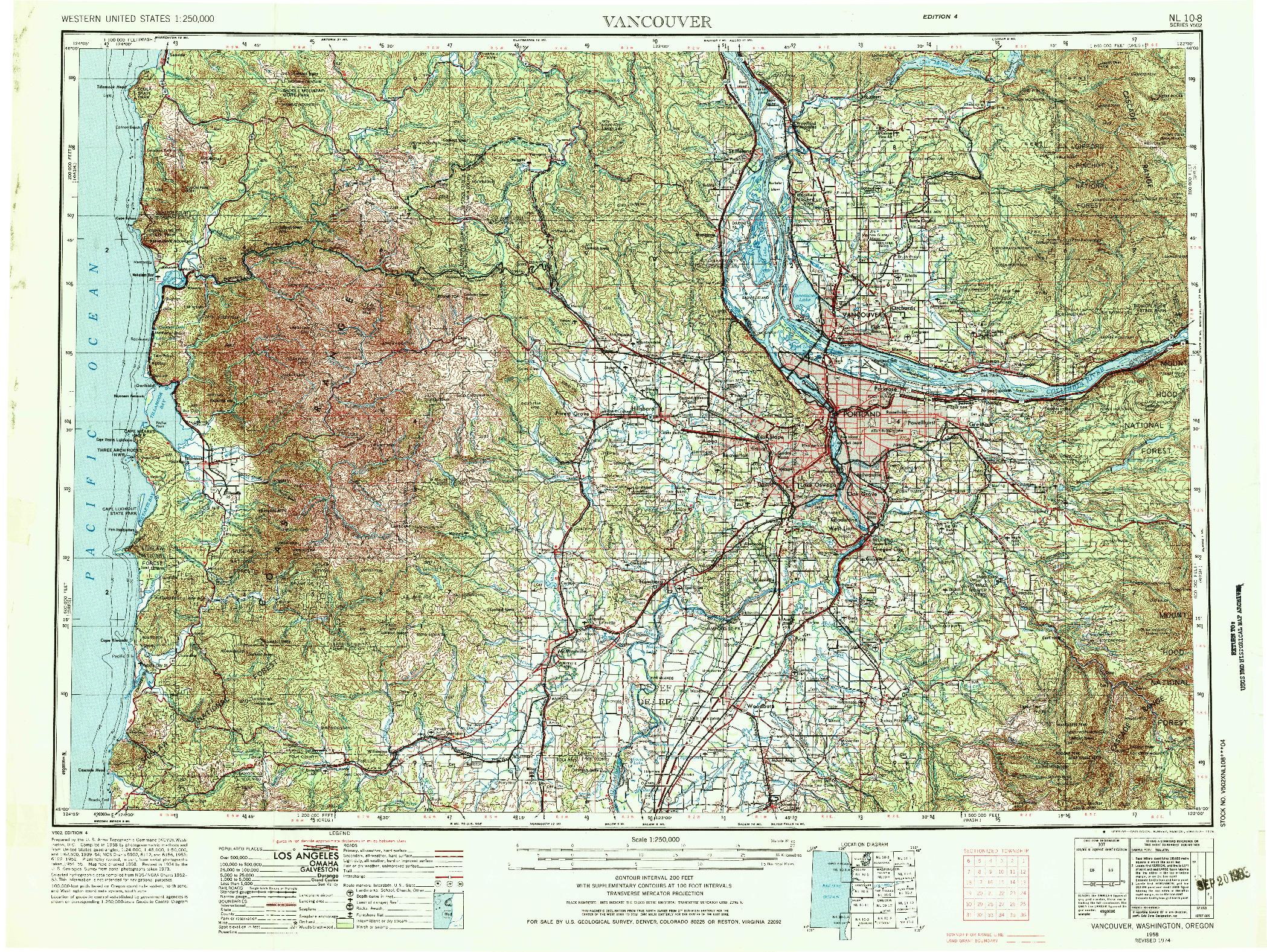 USGS 1:250000-SCALE QUADRANGLE FOR VANCOUVER, WA 1958