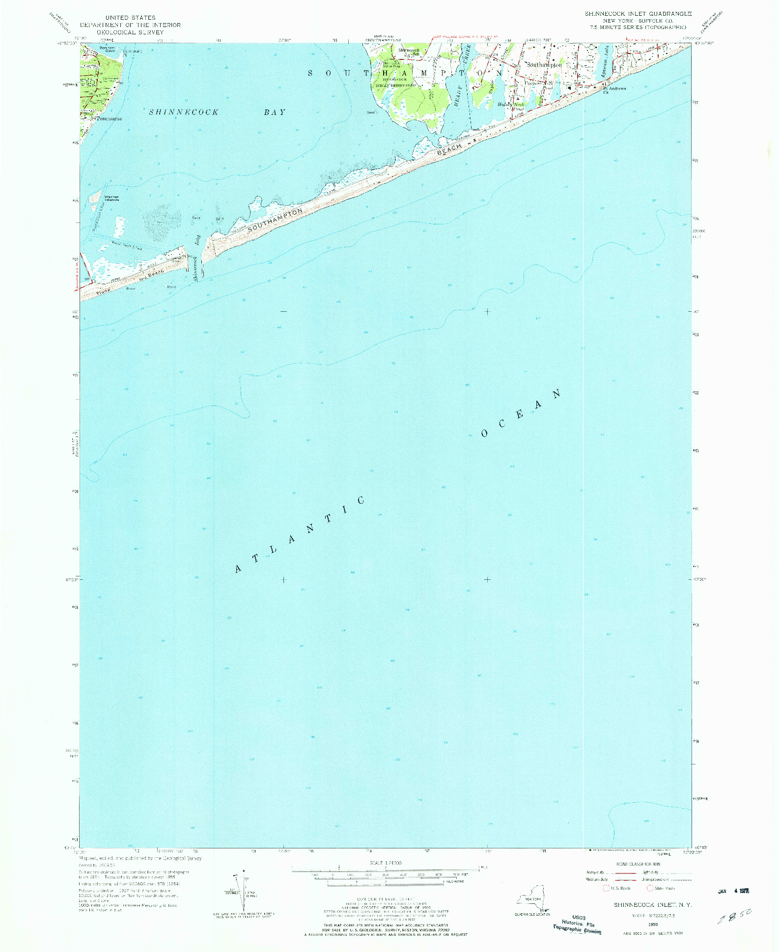 USGS 1:24000-SCALE QUADRANGLE FOR SHINNECOCK INLET, NY 1955
