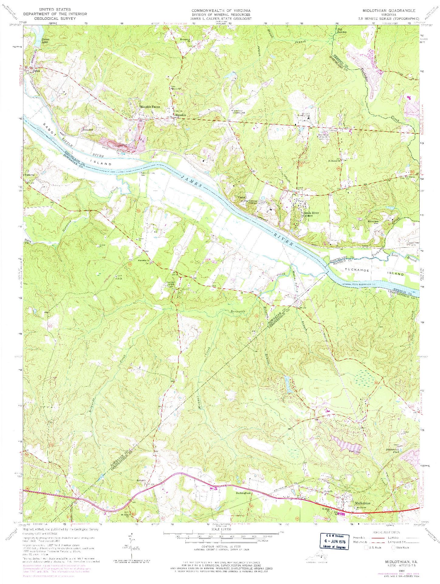 USGS 1:24000-SCALE QUADRANGLE FOR MIDLOTHIAN, VA 1964