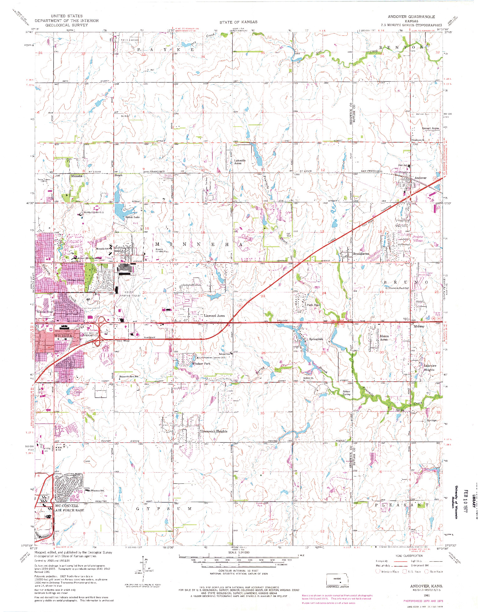 USGS 1:24000-SCALE QUADRANGLE FOR ANDOVER, KS 1961