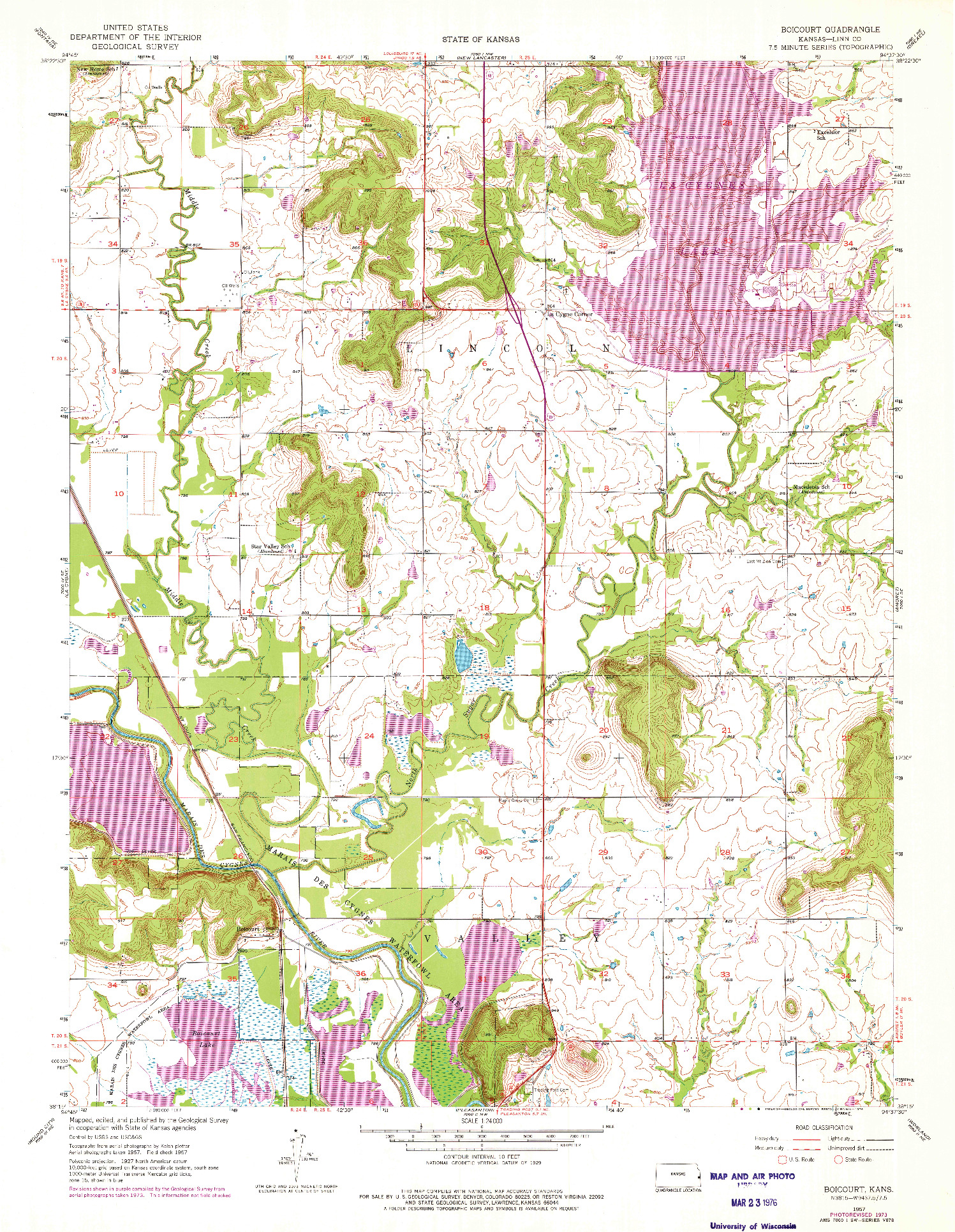 USGS 1:24000-SCALE QUADRANGLE FOR BOICOURT, KS 1957