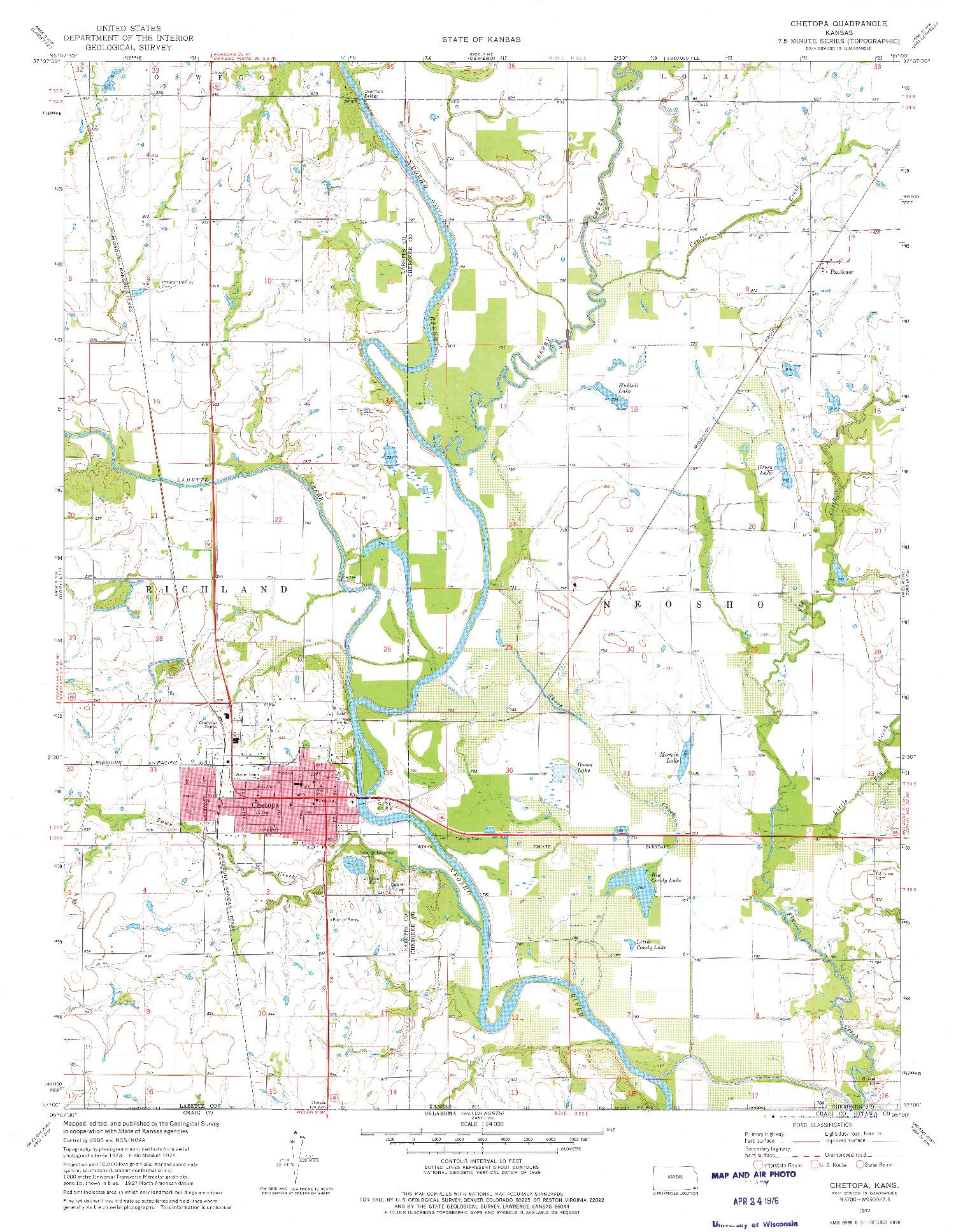 USGS 1:24000-SCALE QUADRANGLE FOR CHETOPA, KS 1974