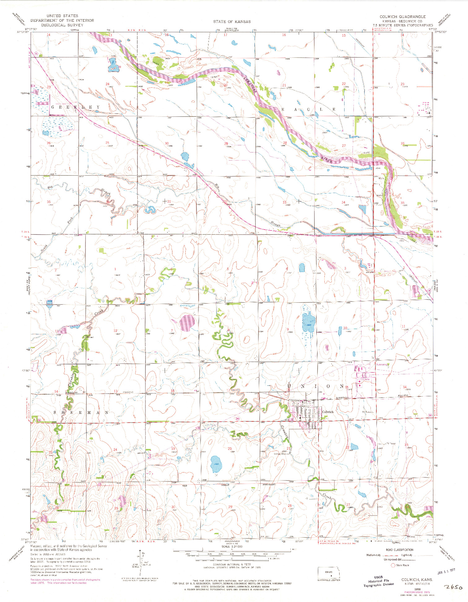 USGS 1:24000-SCALE QUADRANGLE FOR COLWICH, KS 1958