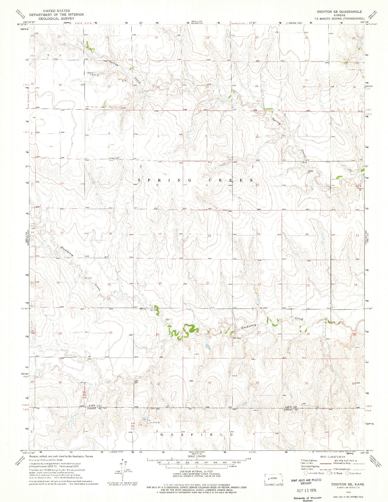 USGS 1:24000-SCALE QUADRANGLE FOR DIGHTON SE, KS 1974