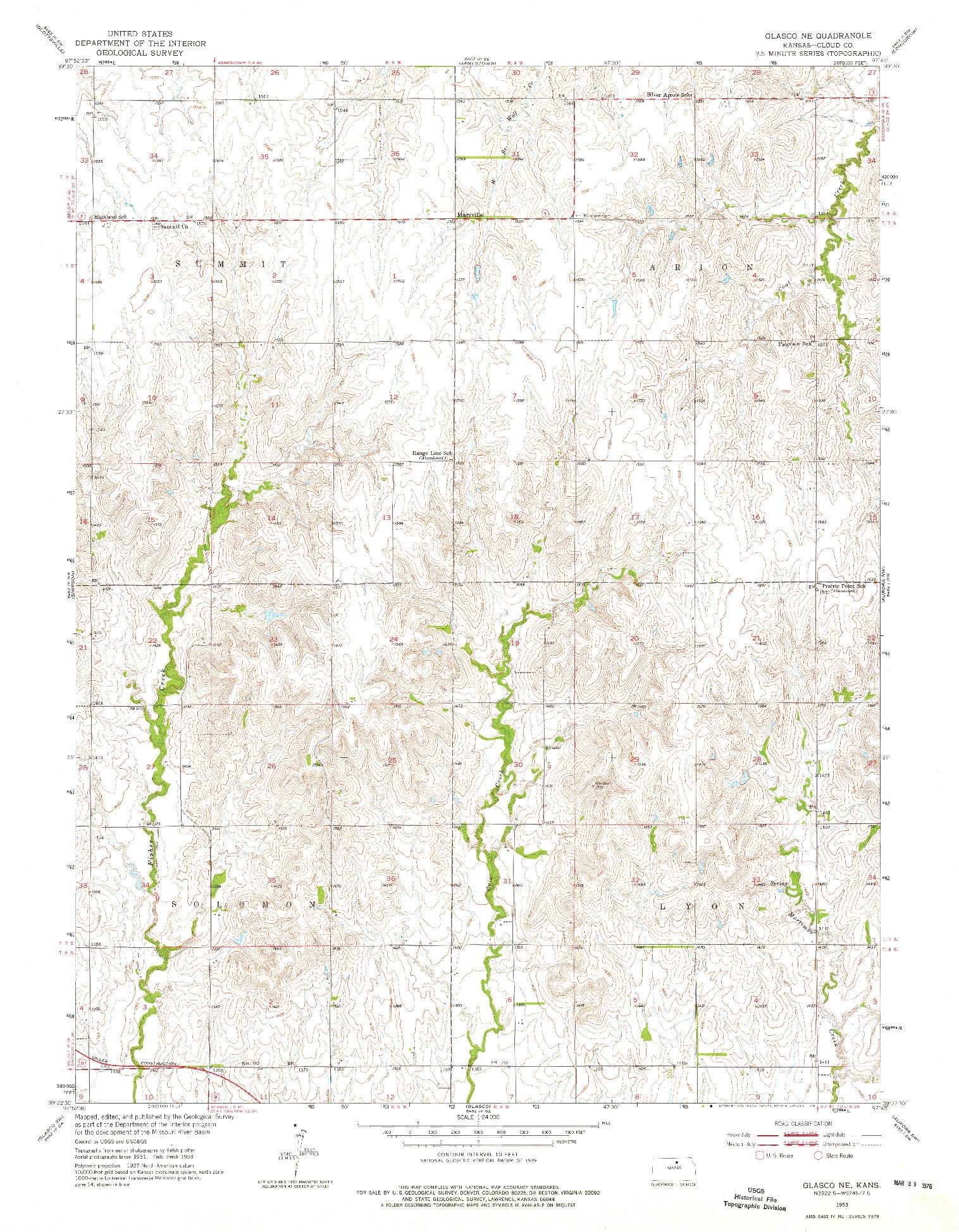 USGS 1:24000-SCALE QUADRANGLE FOR GLASCO NE, KS 1953