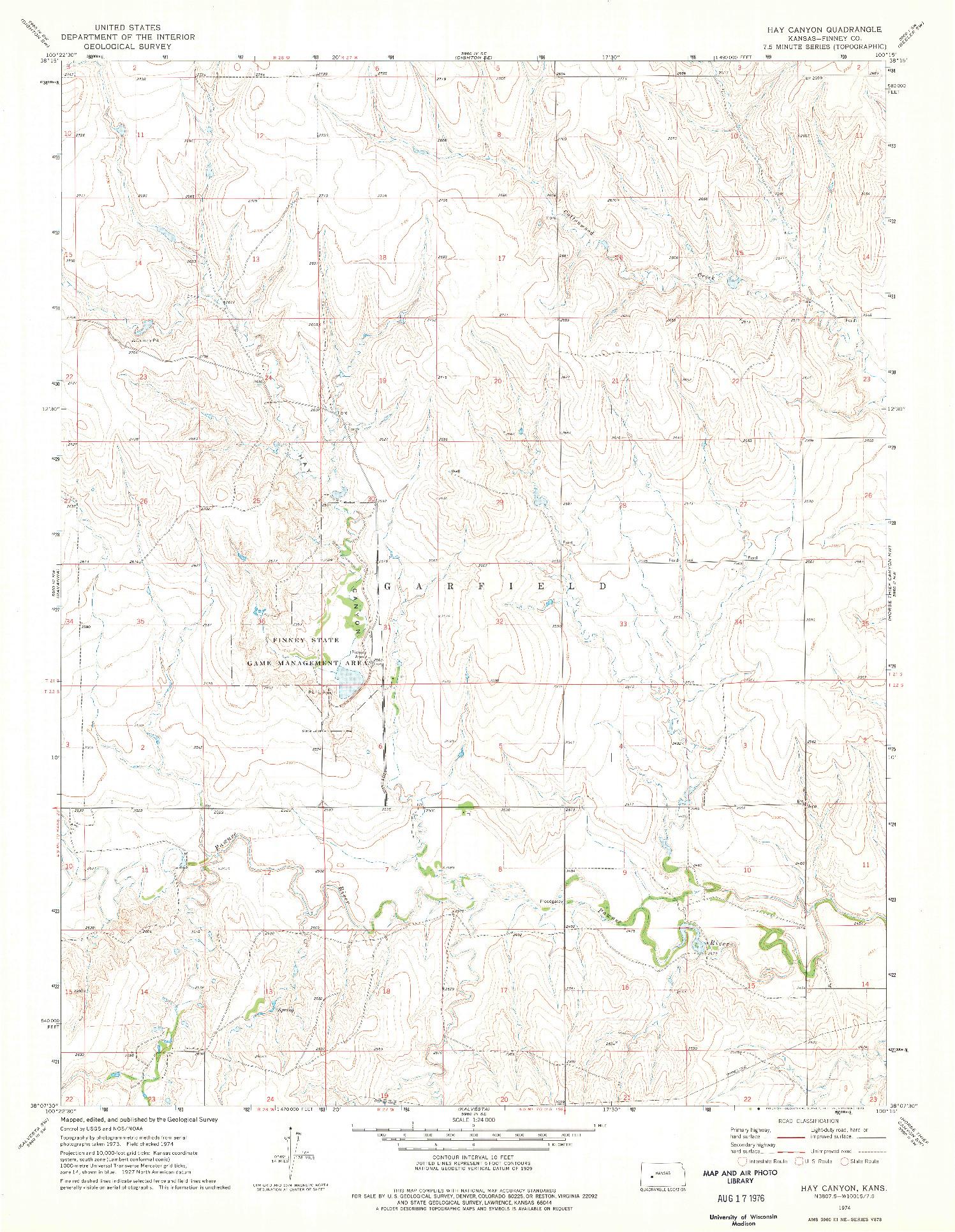 USGS 1:24000-SCALE QUADRANGLE FOR HAY CANYON, KS 1974