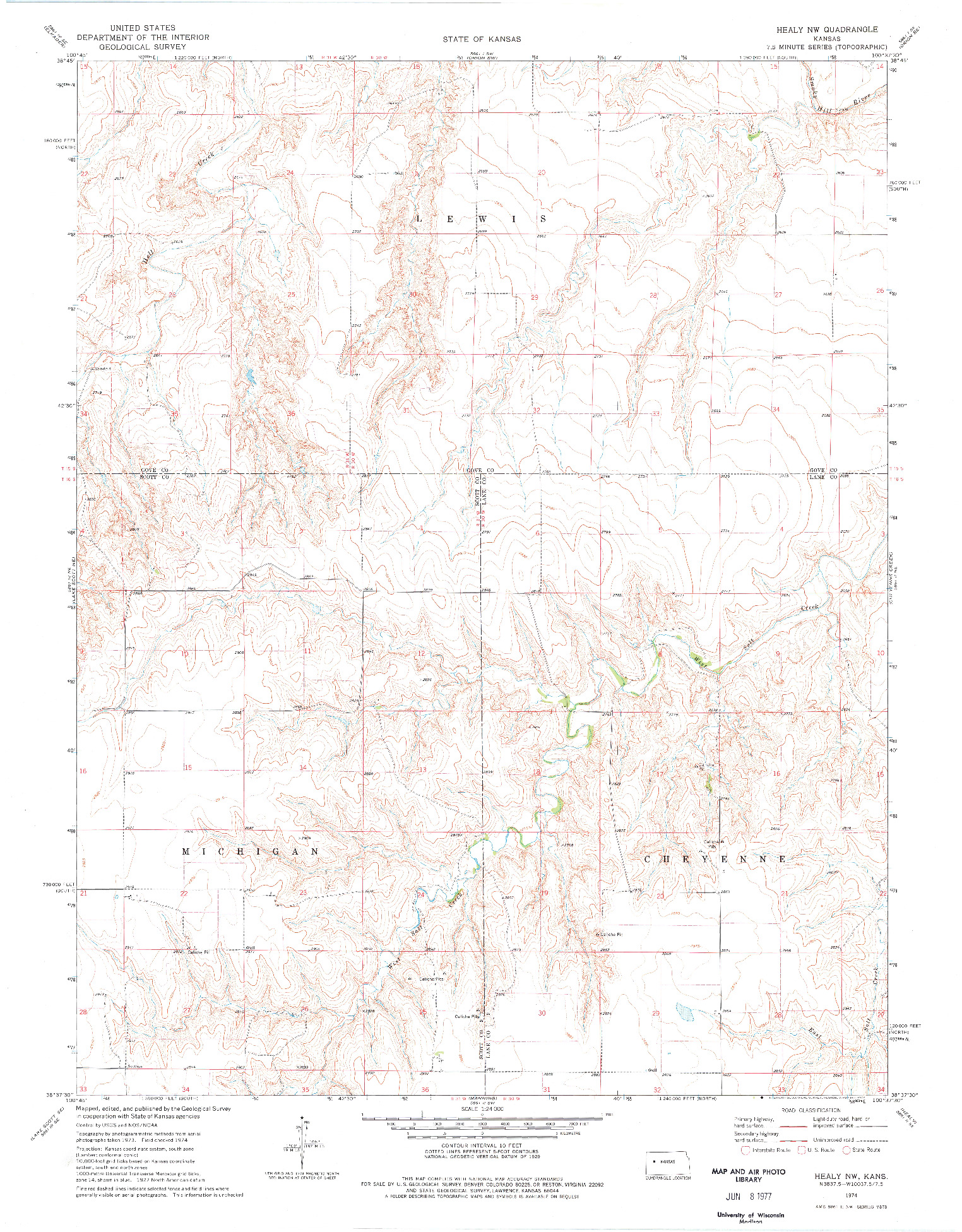 USGS 1:24000-SCALE QUADRANGLE FOR HEALY NW, KS 1974