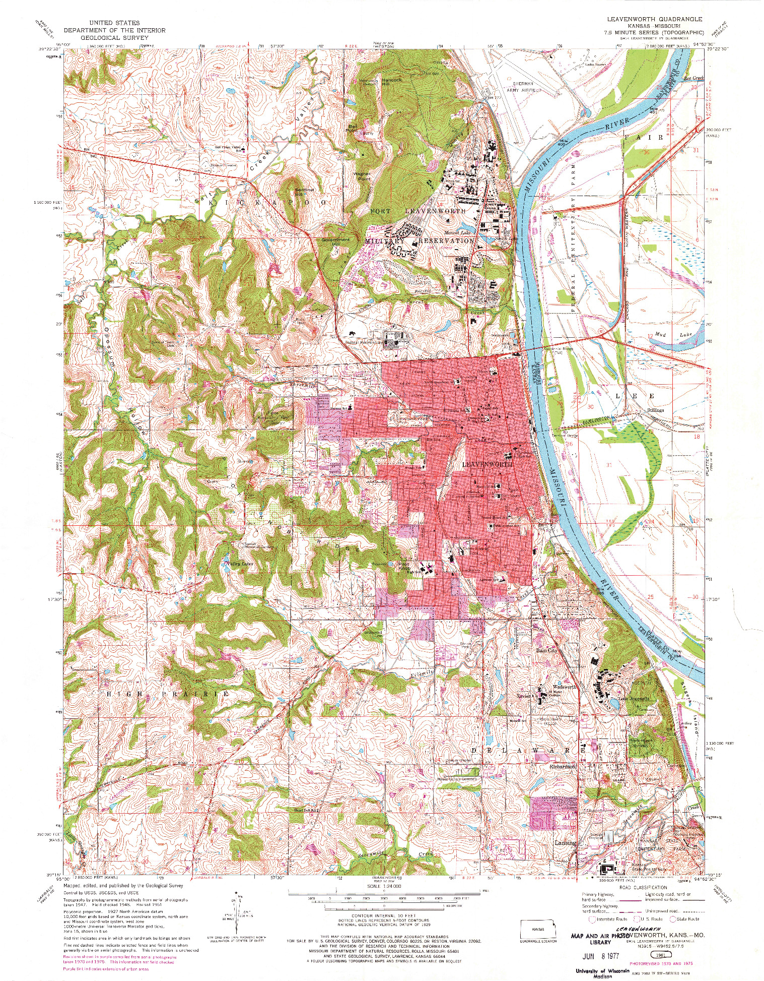 USGS 1:24000-SCALE QUADRANGLE FOR LEAVENWORTH, KS 1961