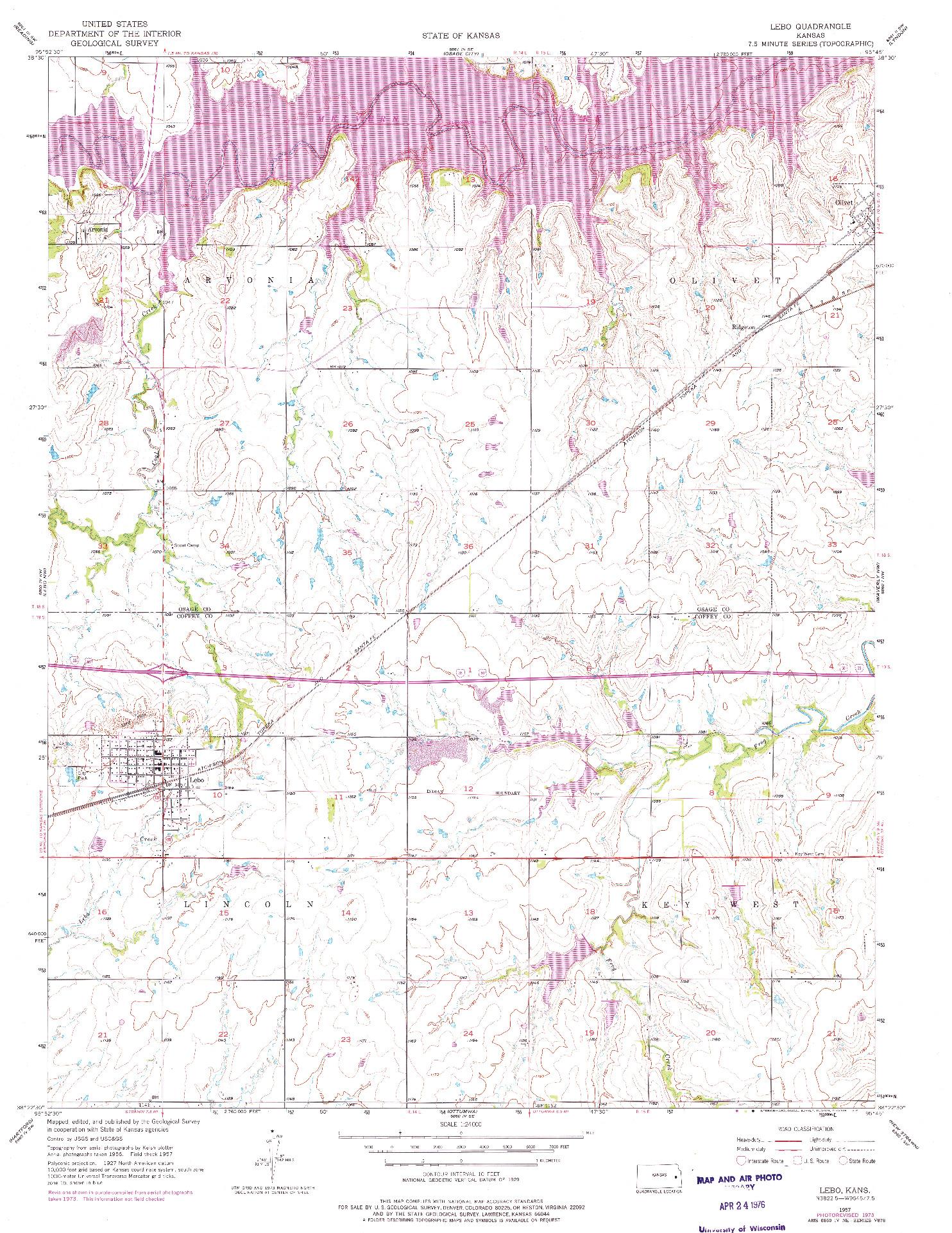 USGS 1:24000-SCALE QUADRANGLE FOR LEBO, KS 1957