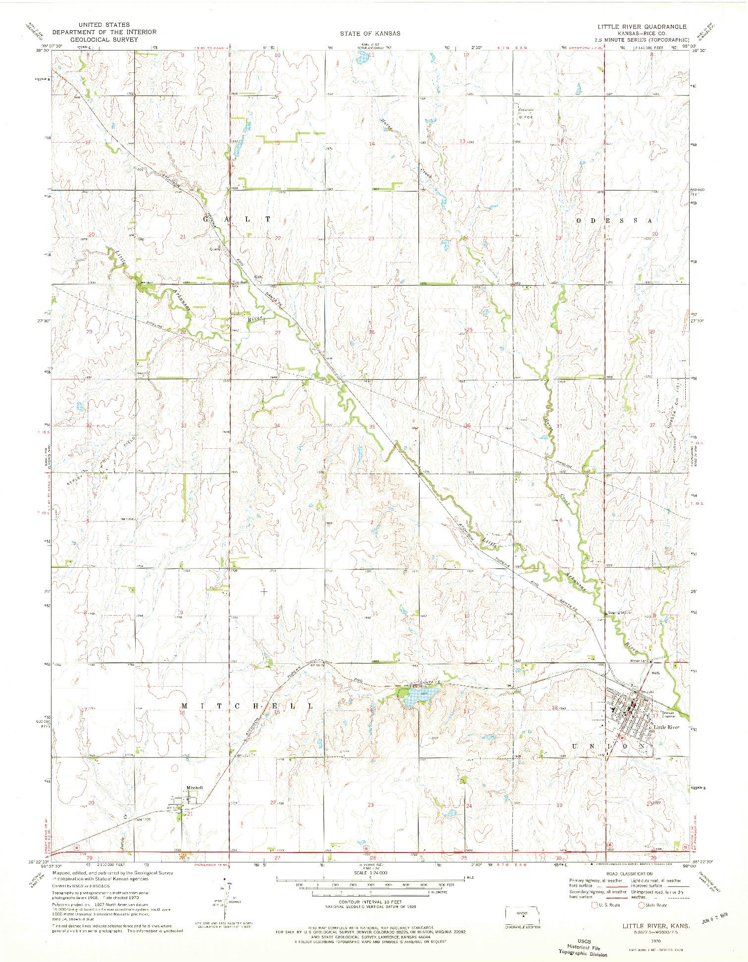 USGS 1:24000-SCALE QUADRANGLE FOR LITTLE RIVER, KS 1970
