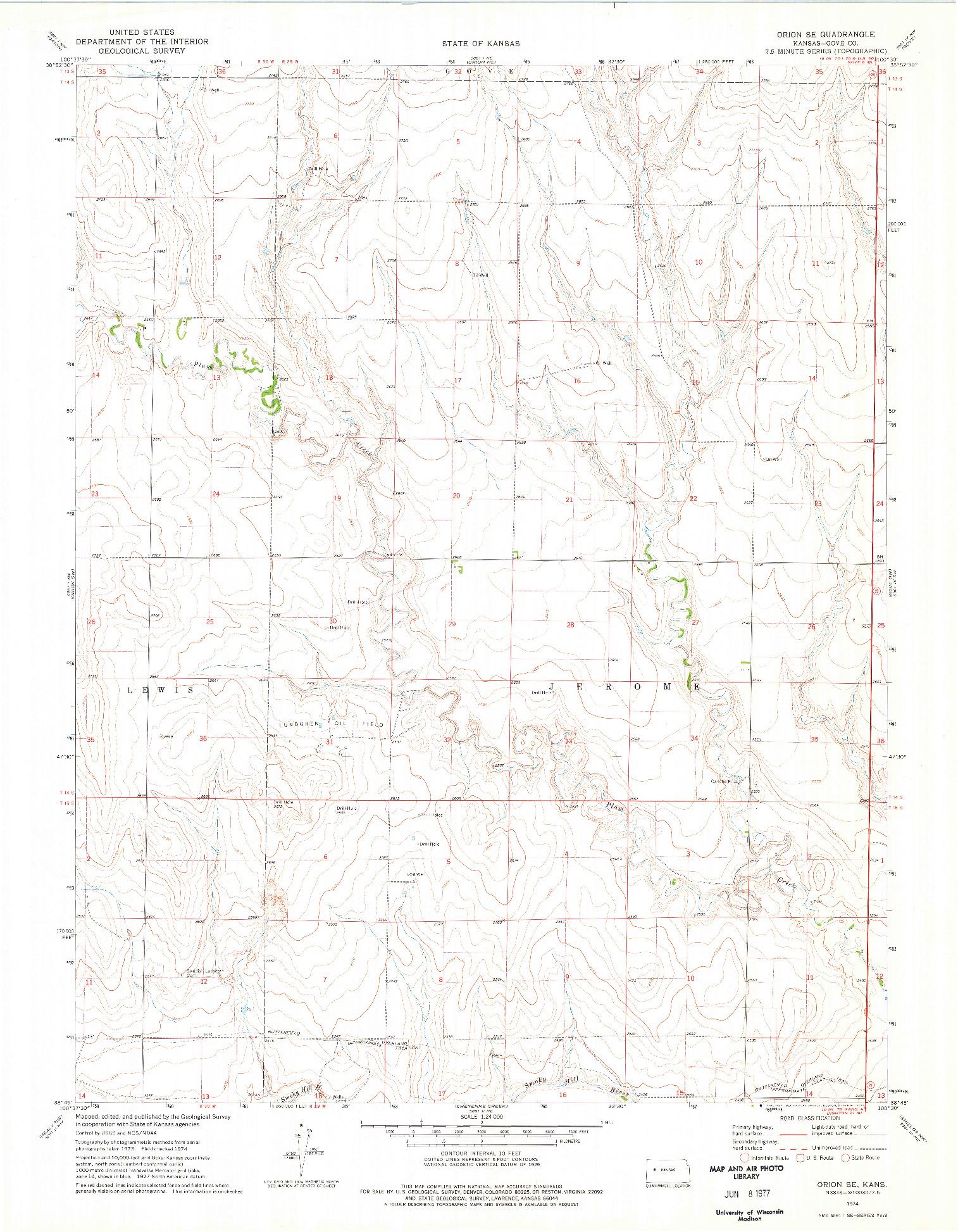 USGS 1:24000-SCALE QUADRANGLE FOR ORION SE, KS 1974
