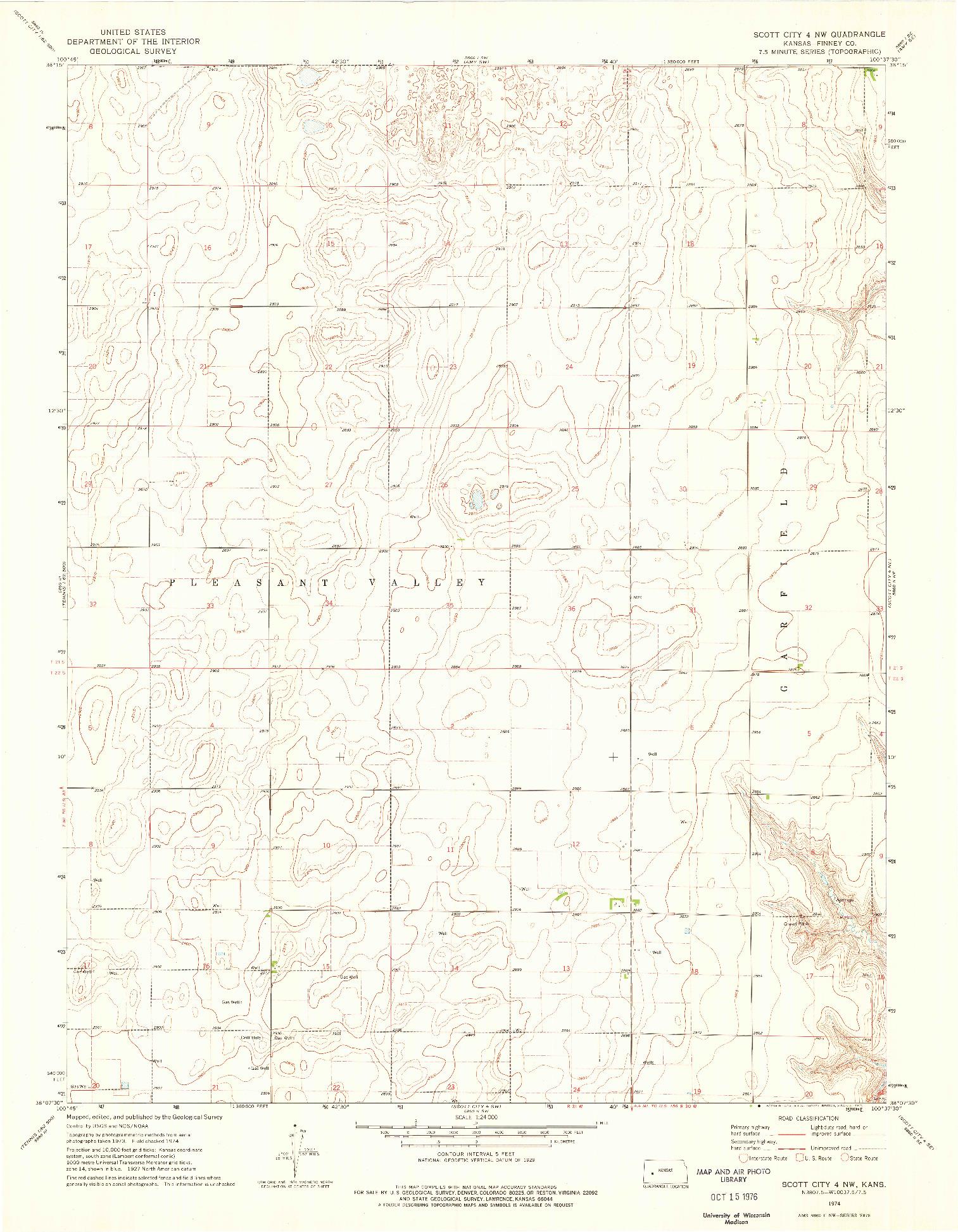 USGS 1:24000-SCALE QUADRANGLE FOR SCOTT CITY 4 NW, KS 1974