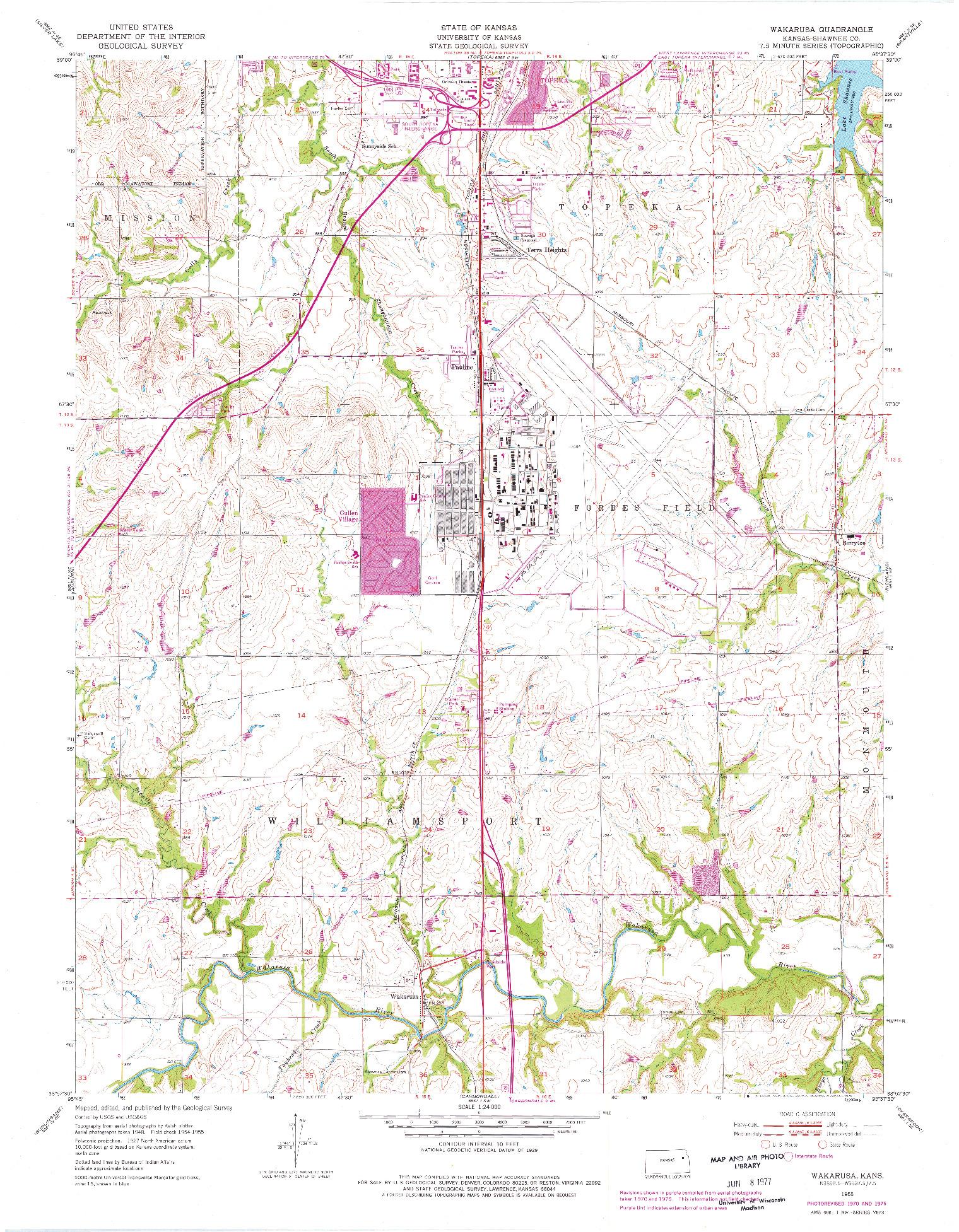 USGS 1:24000-SCALE QUADRANGLE FOR WAKARUSA, KS 1955