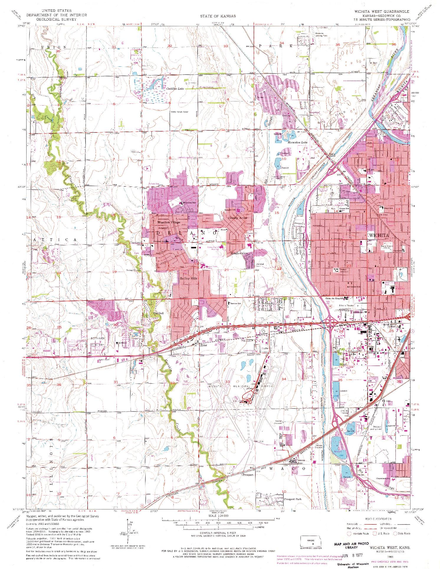USGS 1:24000-SCALE QUADRANGLE FOR WICHITA WEST, KS 1961