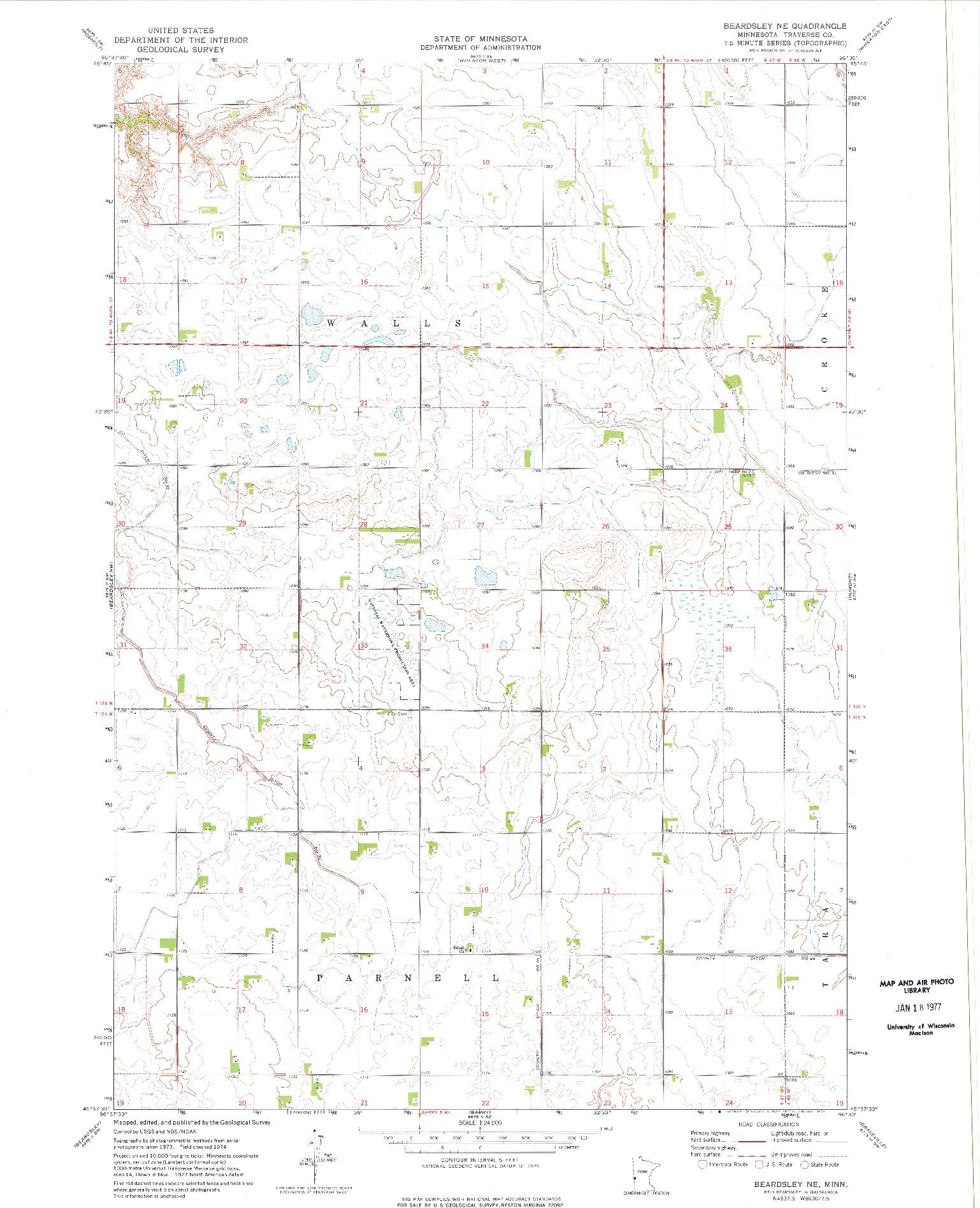 USGS 1:24000-SCALE QUADRANGLE FOR BEARDSLEY NE, MN 1974