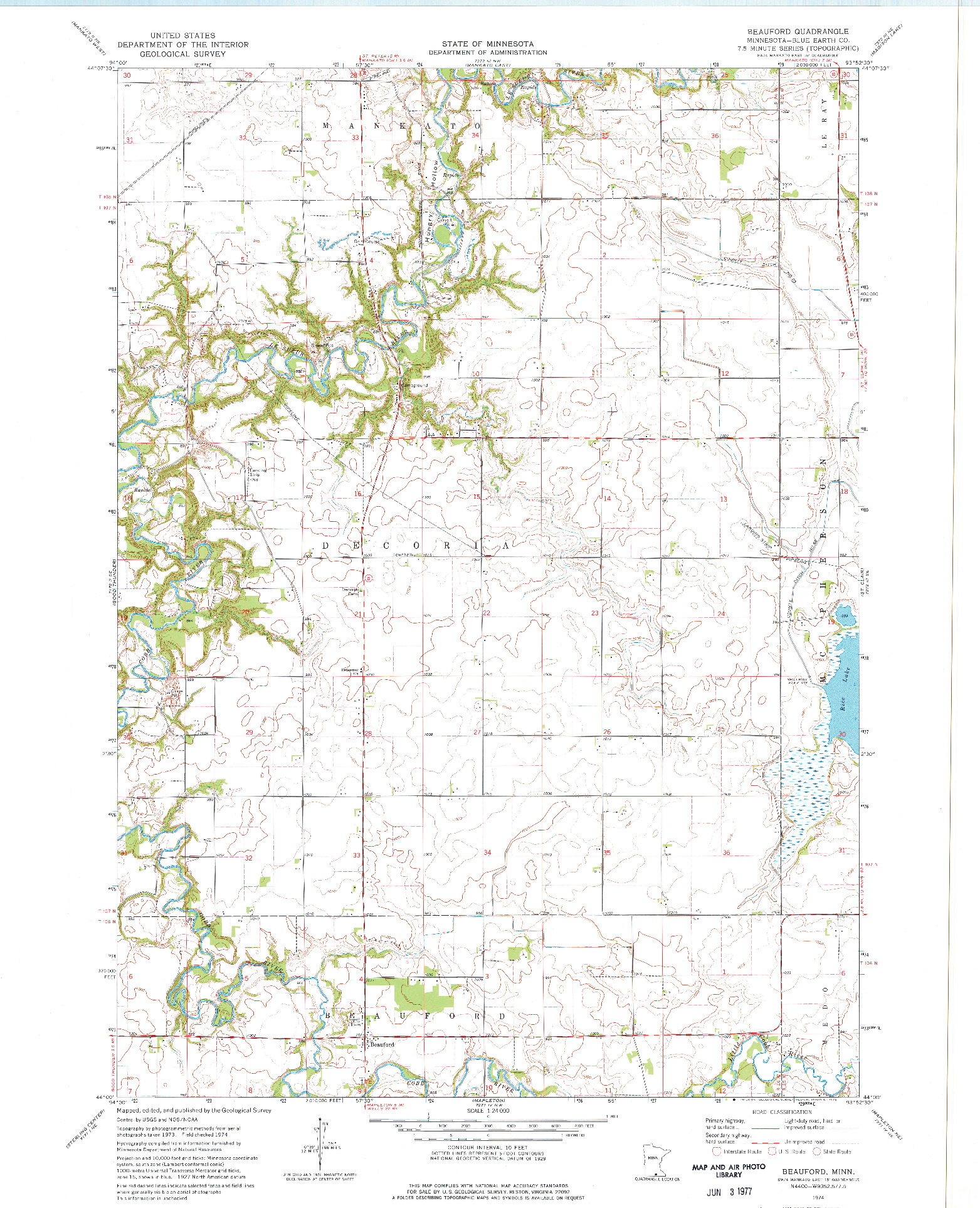 USGS 1:24000-SCALE QUADRANGLE FOR BEAUFORD, MN 1974