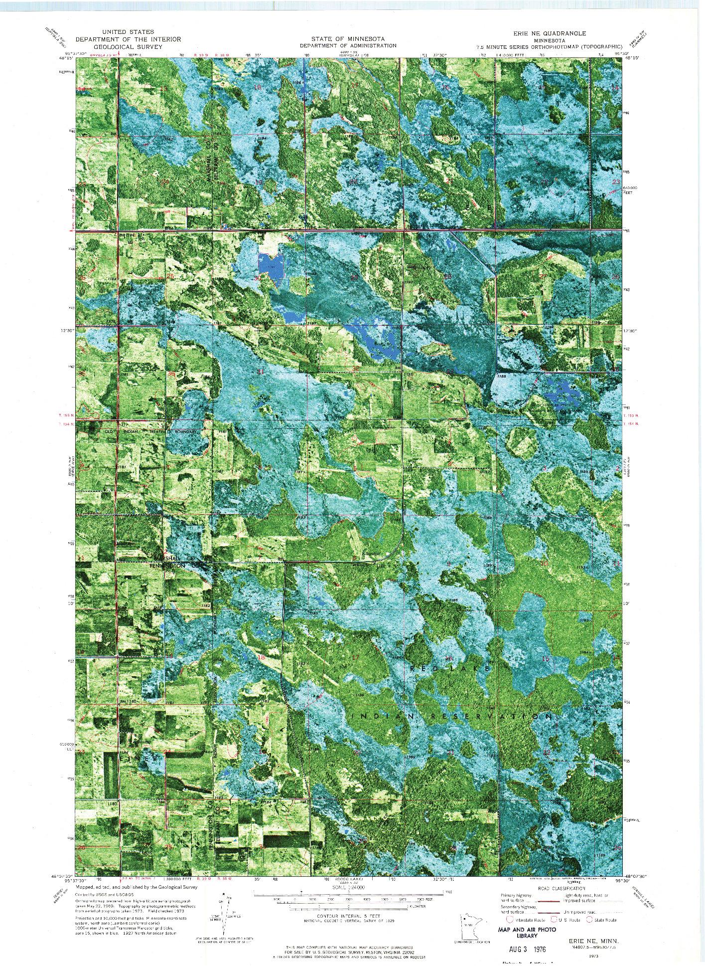 USGS 1:24000-SCALE QUADRANGLE FOR ERIE NE, MN 1973