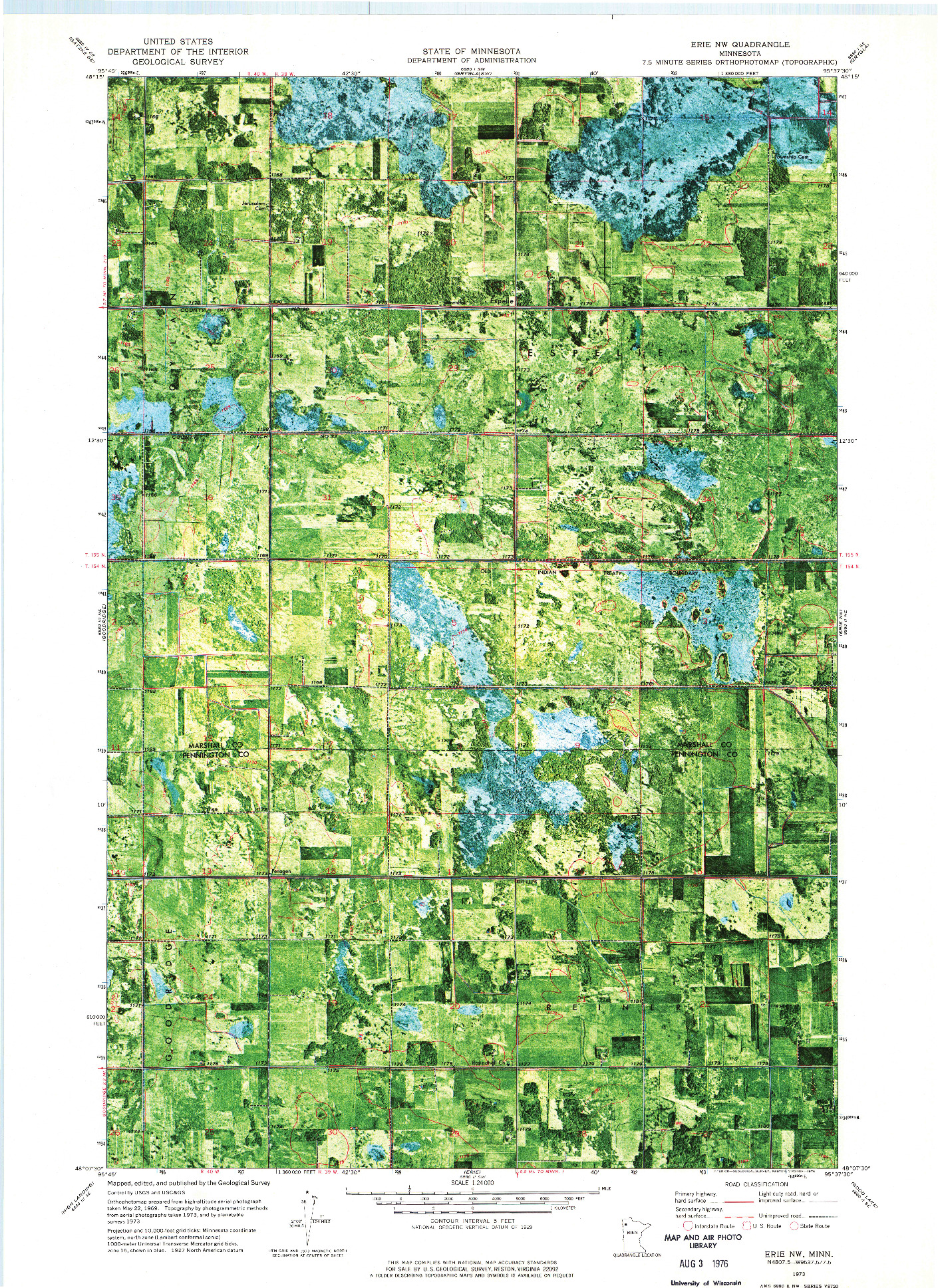 USGS 1:24000-SCALE QUADRANGLE FOR ERIE NW, MN 1973