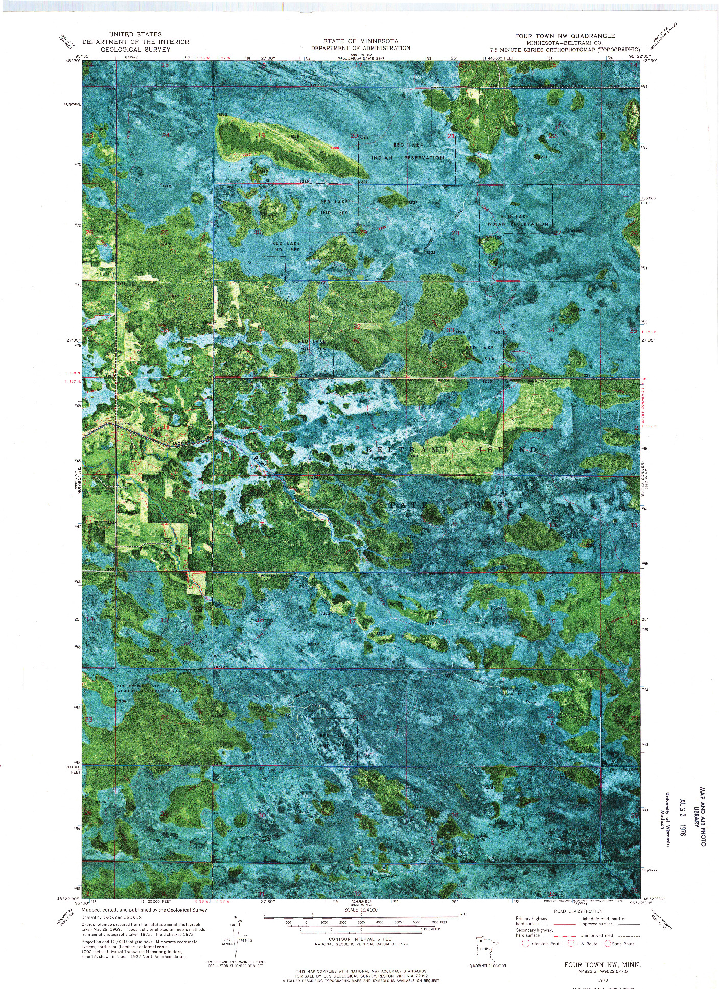 USGS 1:24000-SCALE QUADRANGLE FOR FOUR TOWN NW, MN 1973