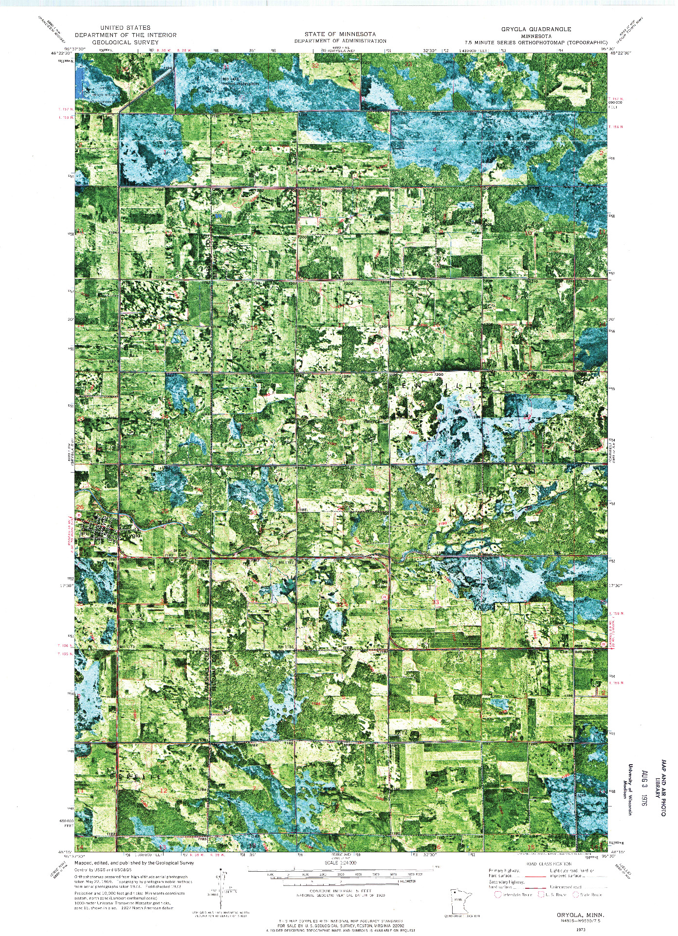 USGS 1:24000-SCALE QUADRANGLE FOR GRYGLA, MN 1973