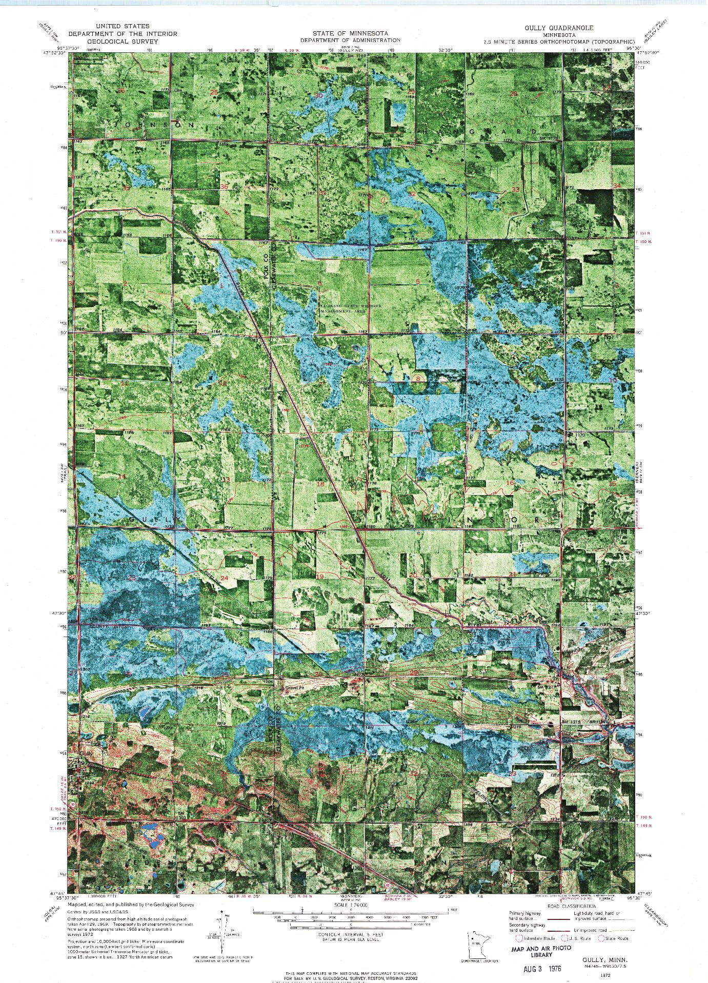 USGS 1:24000-SCALE QUADRANGLE FOR GULLY, MN 1972