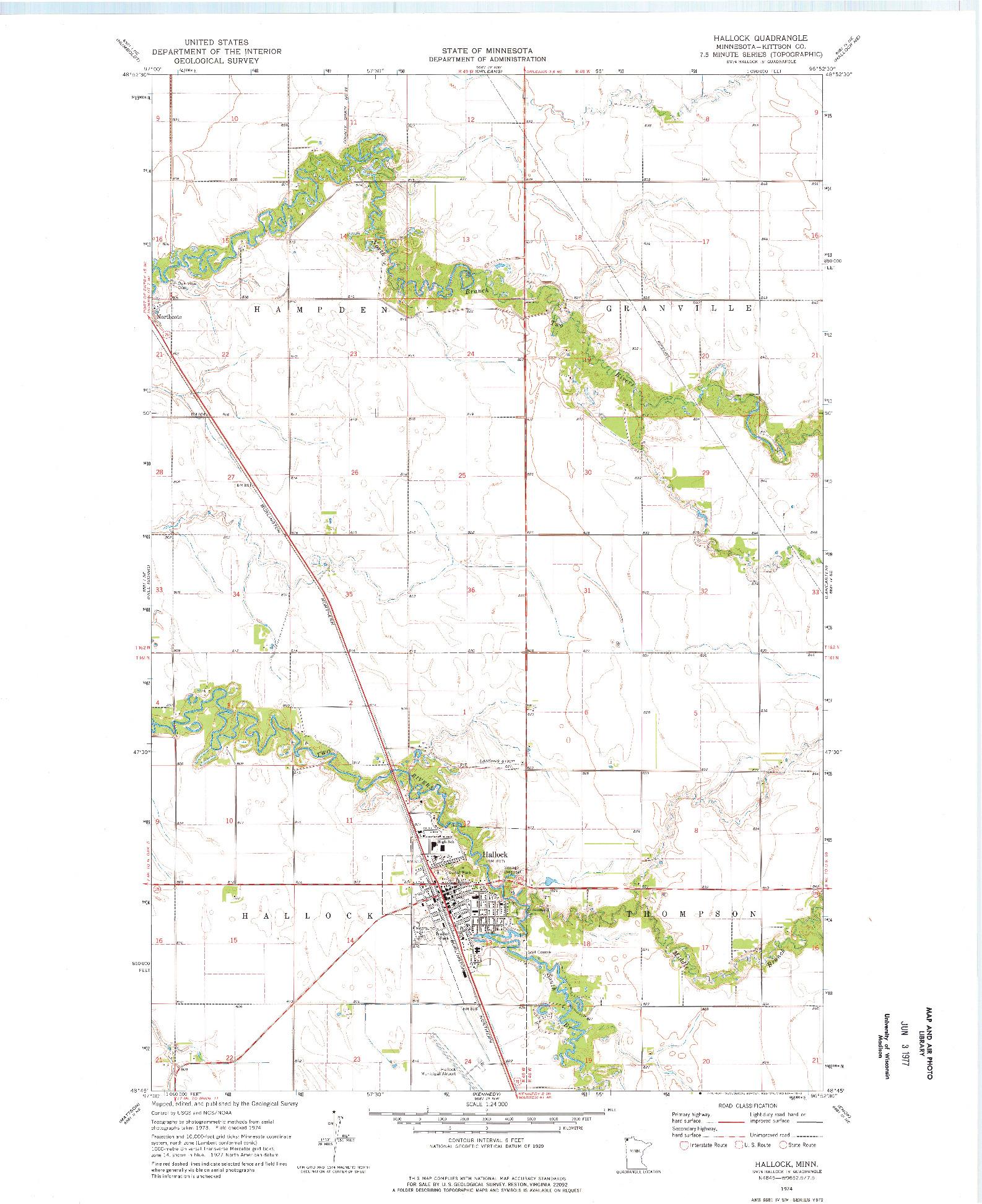 USGS 1:24000-SCALE QUADRANGLE FOR HALLOCK, MN 1974
