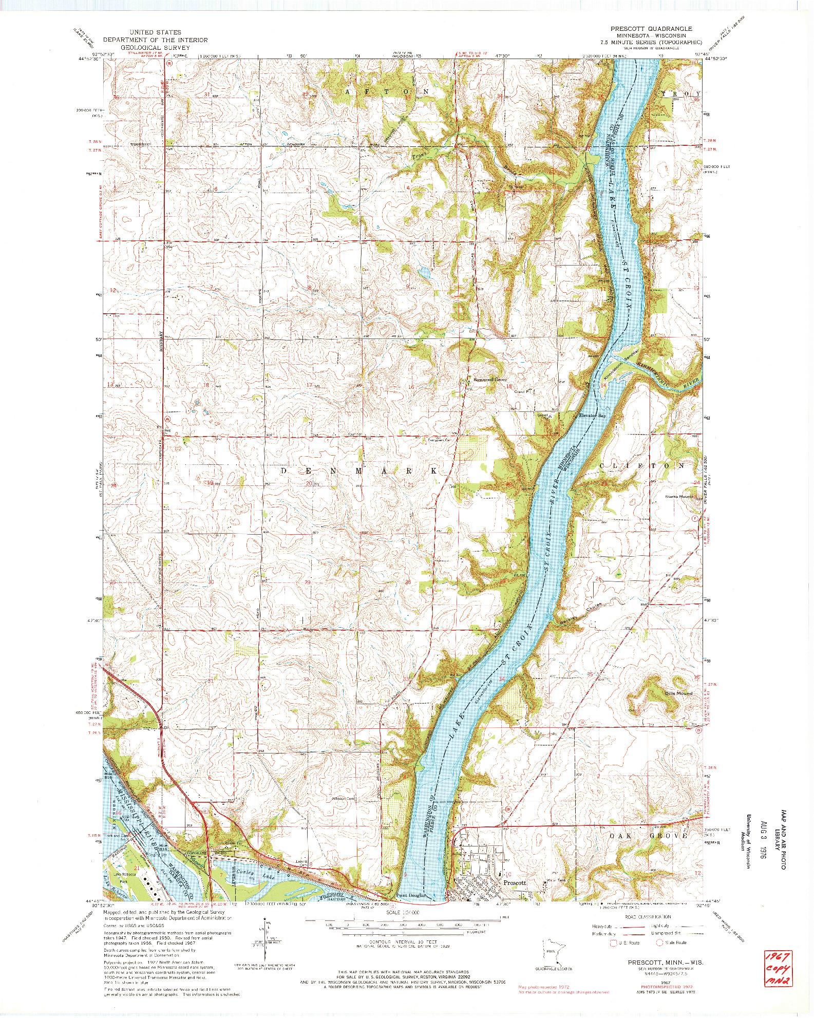 USGS 1:24000-SCALE QUADRANGLE FOR PRESCOTT, MN 1967