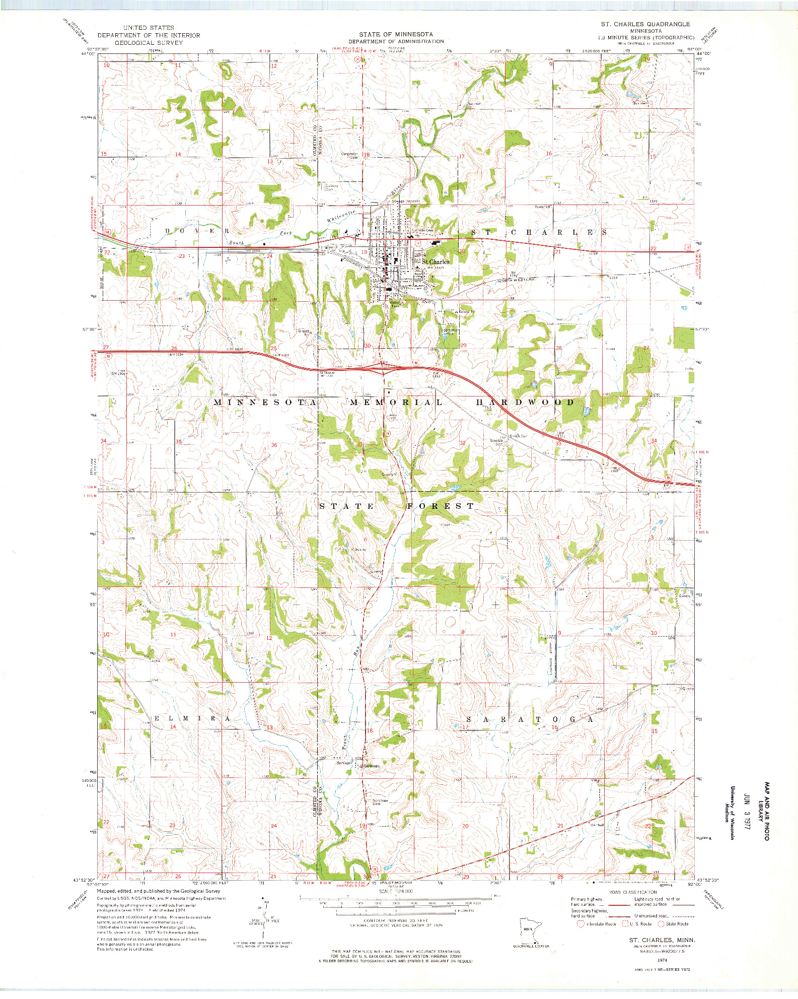 USGS 1:24000-SCALE QUADRANGLE FOR ST CHARLES, MN 1974
