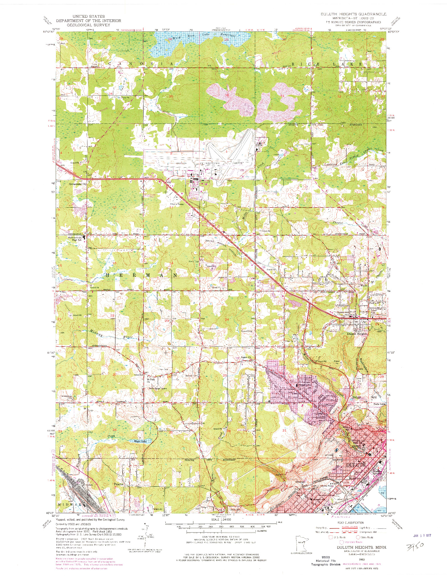 USGS 1:24000-SCALE QUADRANGLE FOR DULUTH HEIGHTS, MN 1953