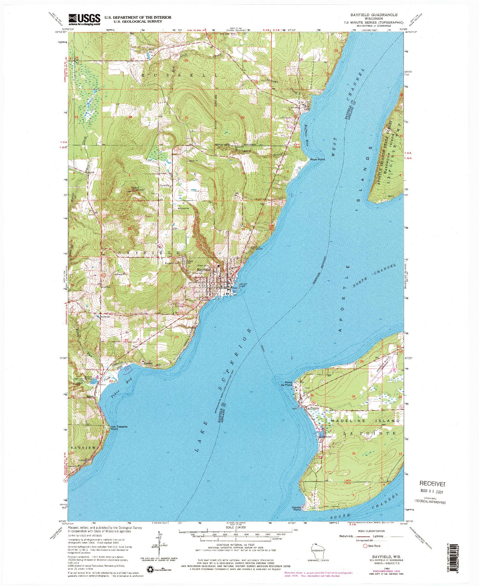 USGS 1:24000-SCALE QUADRANGLE FOR BAYFIELD, WI 1964