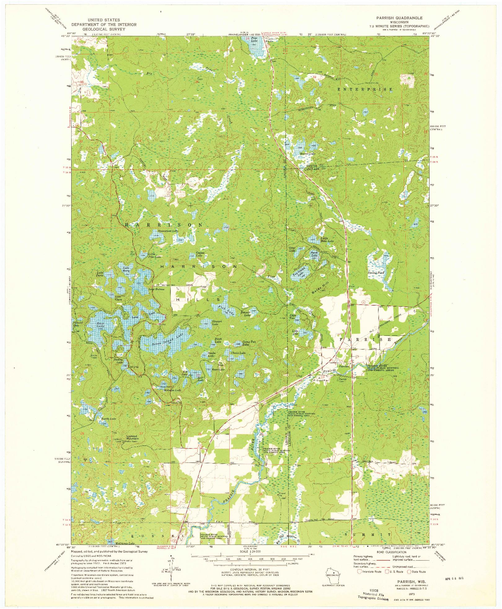 USGS 1:24000-SCALE QUADRANGLE FOR PARRISH, WI 1973