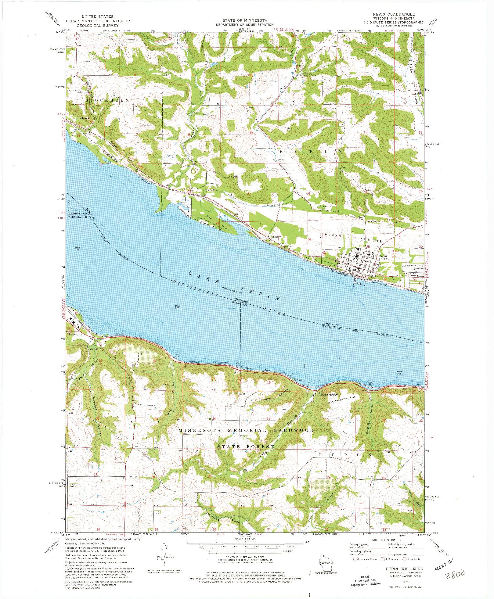 USGS 1:24000-SCALE QUADRANGLE FOR PEPIN, WI 1974