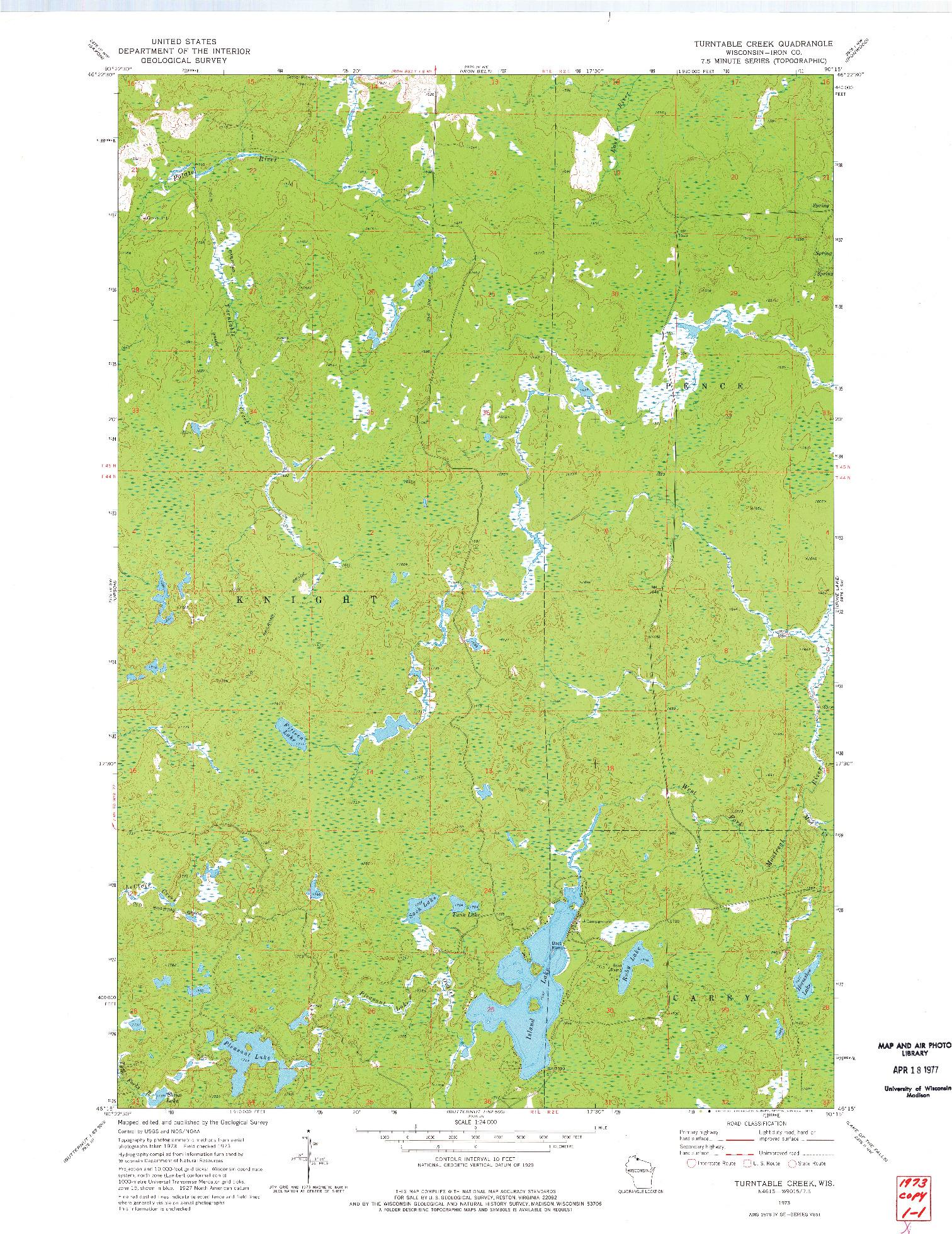USGS 1:24000-SCALE QUADRANGLE FOR TURNTABLE CREEK, WI 1973