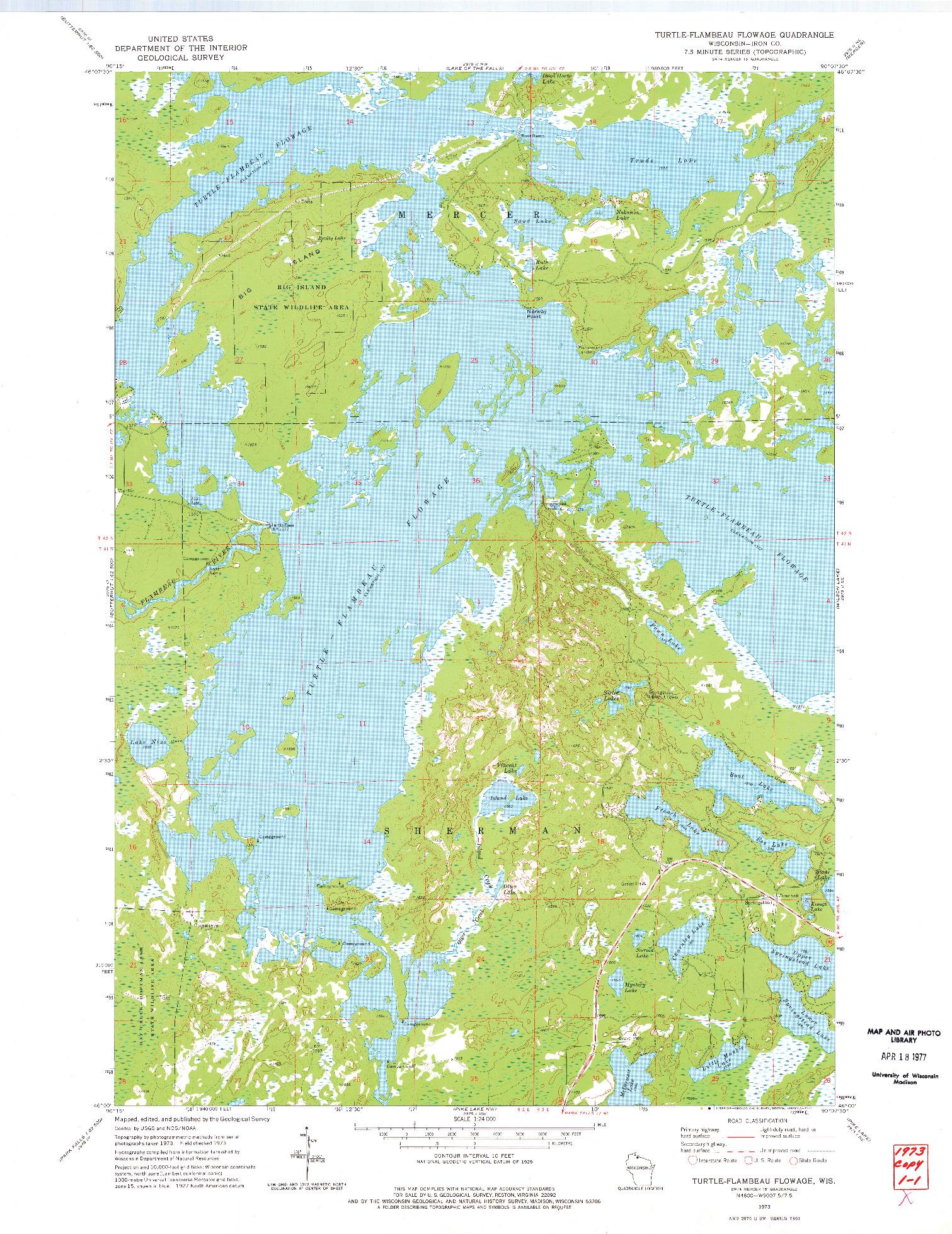 USGS 1:24000-SCALE QUADRANGLE FOR TURTLE-FLAMBEAU FLOWAGE, WI 1973