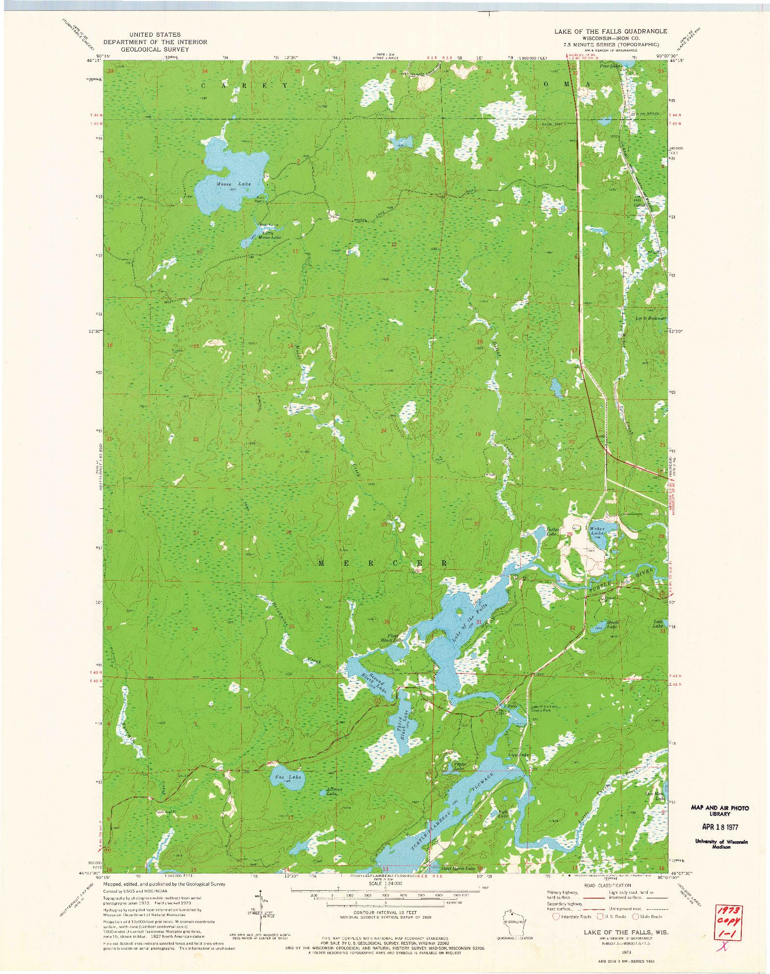 USGS 1:24000-SCALE QUADRANGLE FOR LAKE OF THE FALLS, WI 1973