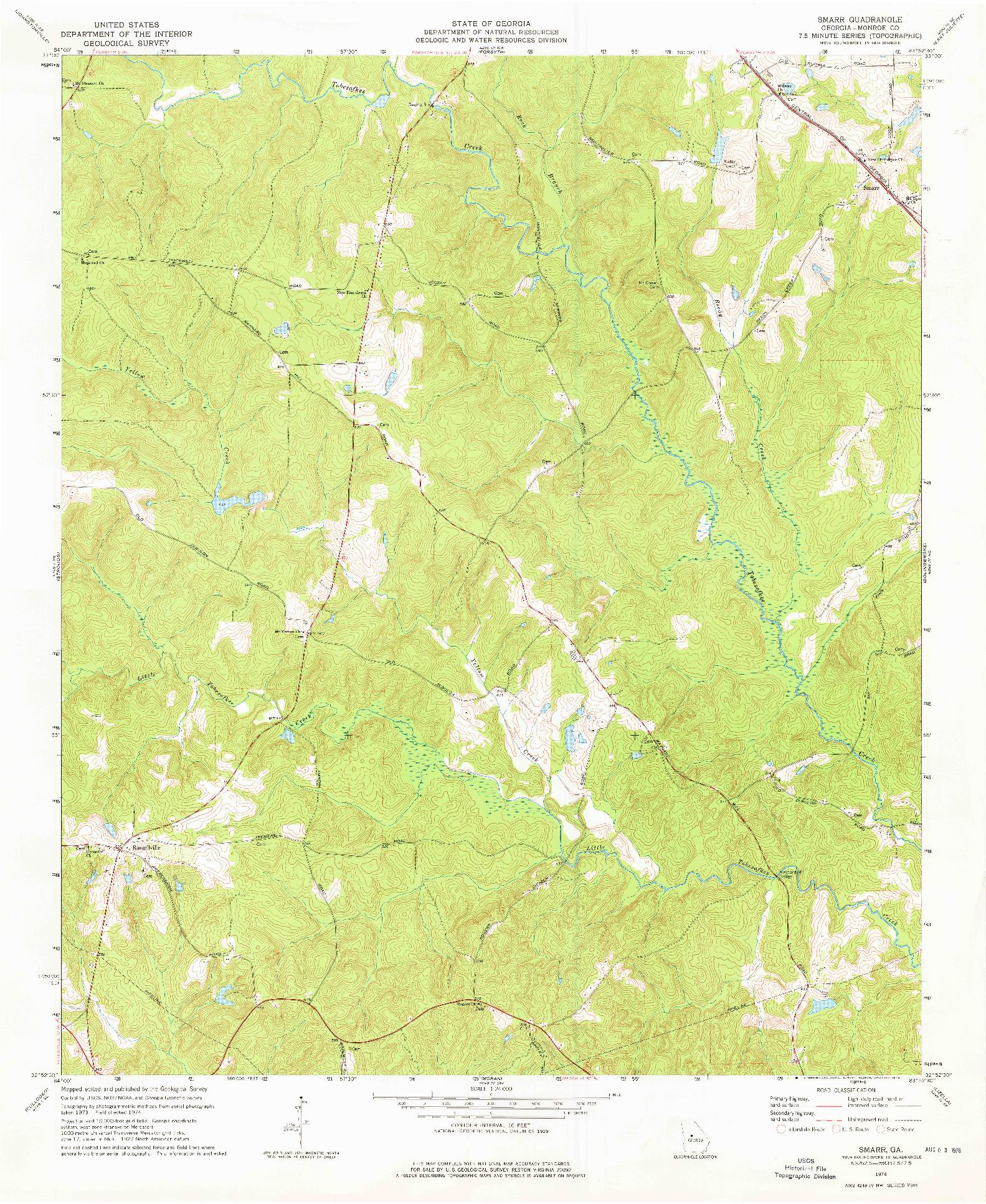 USGS 1:24000-SCALE QUADRANGLE FOR SMARR, GA 1974