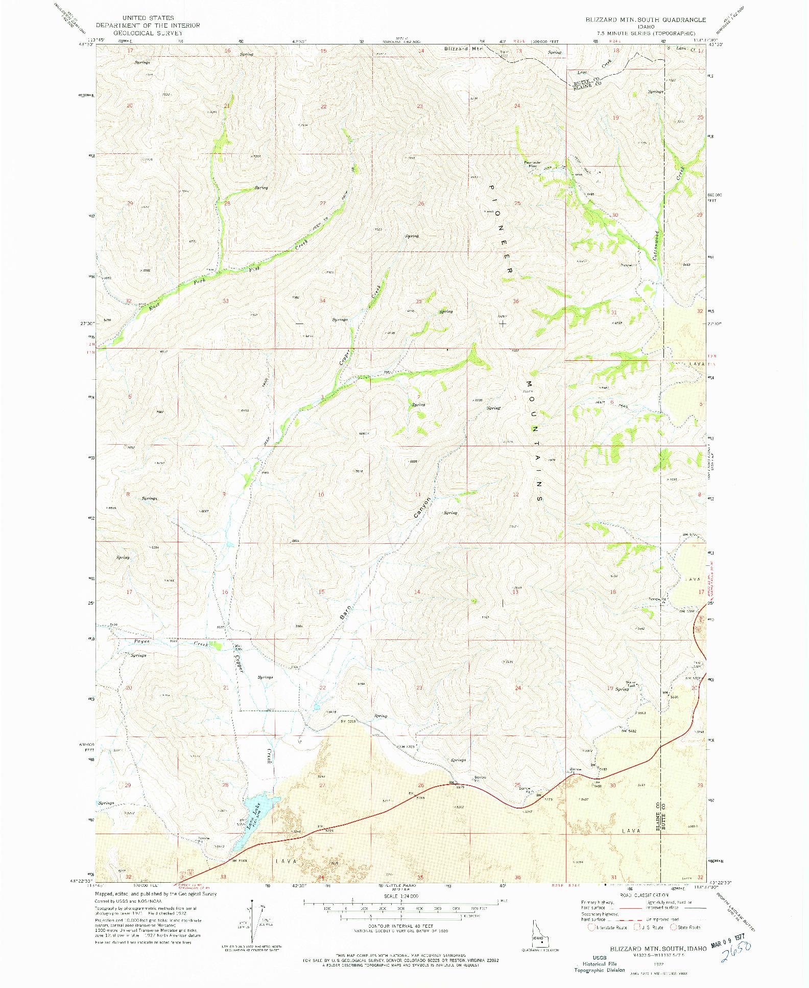 USGS 1:24000-SCALE QUADRANGLE FOR BLIZZARD MTN SOUTH, ID 1972