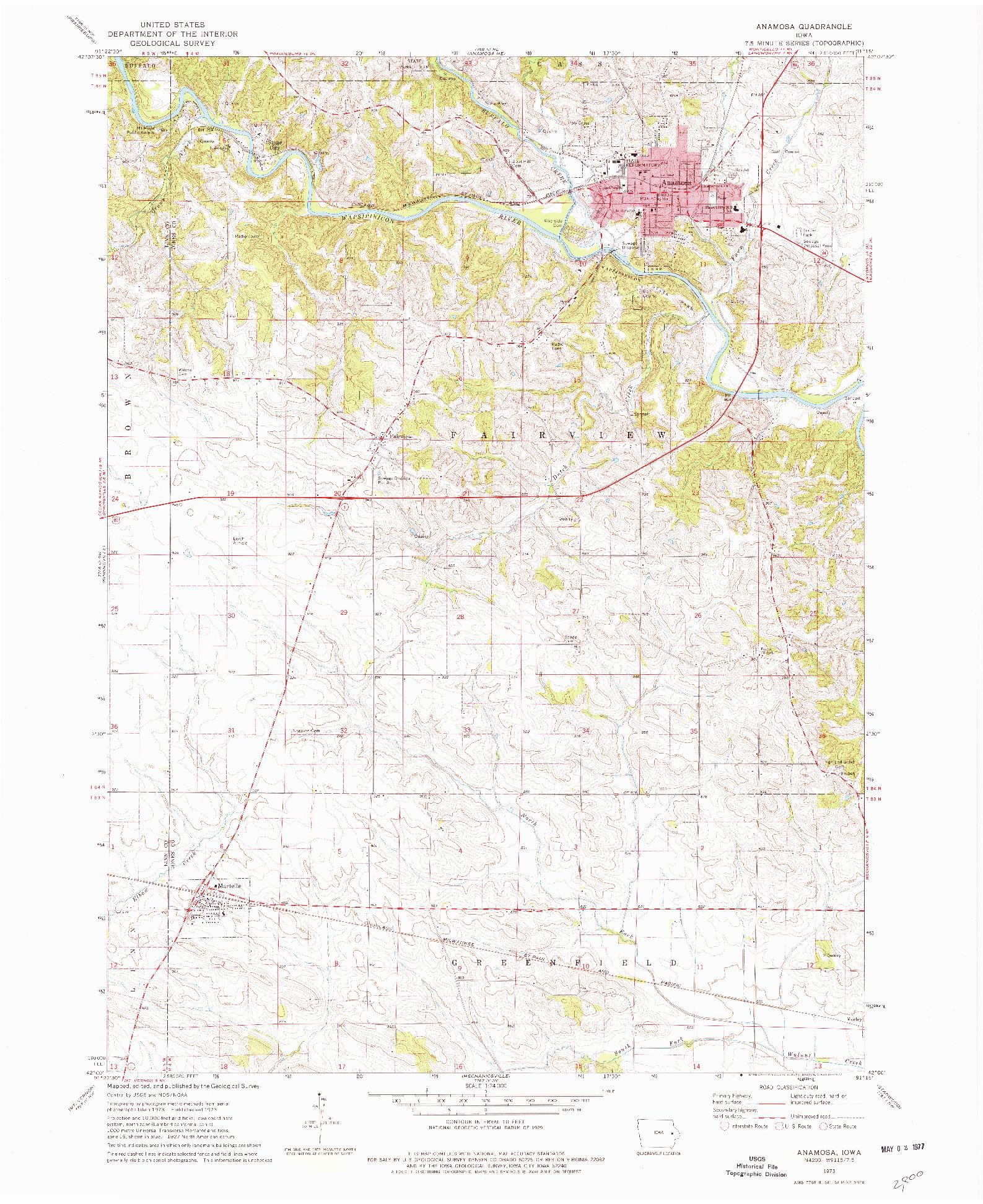 USGS 1:24000-SCALE QUADRANGLE FOR ANAMOSA, IA 1973