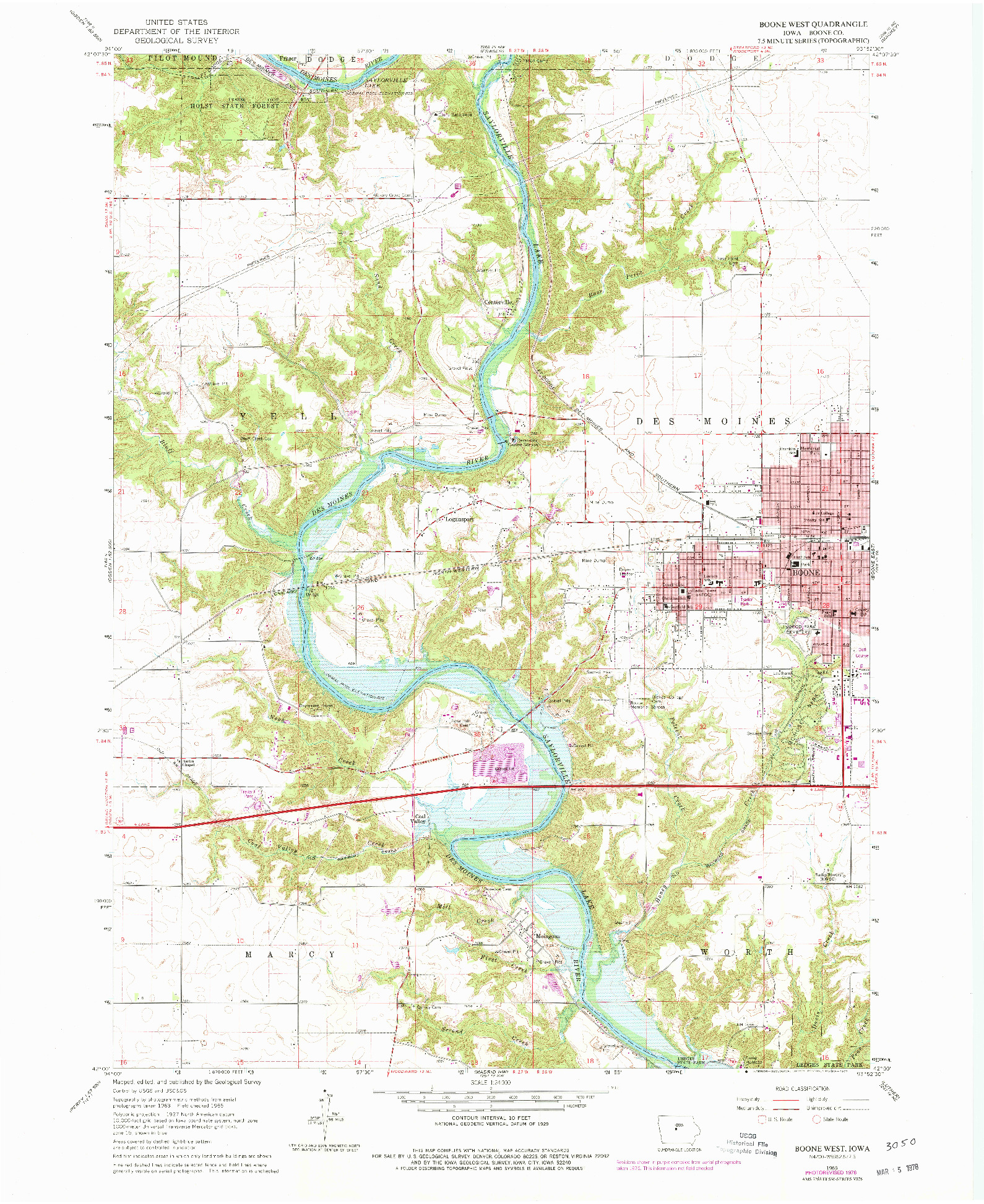 USGS 1:24000-SCALE QUADRANGLE FOR BOONE WEST, IA 1965