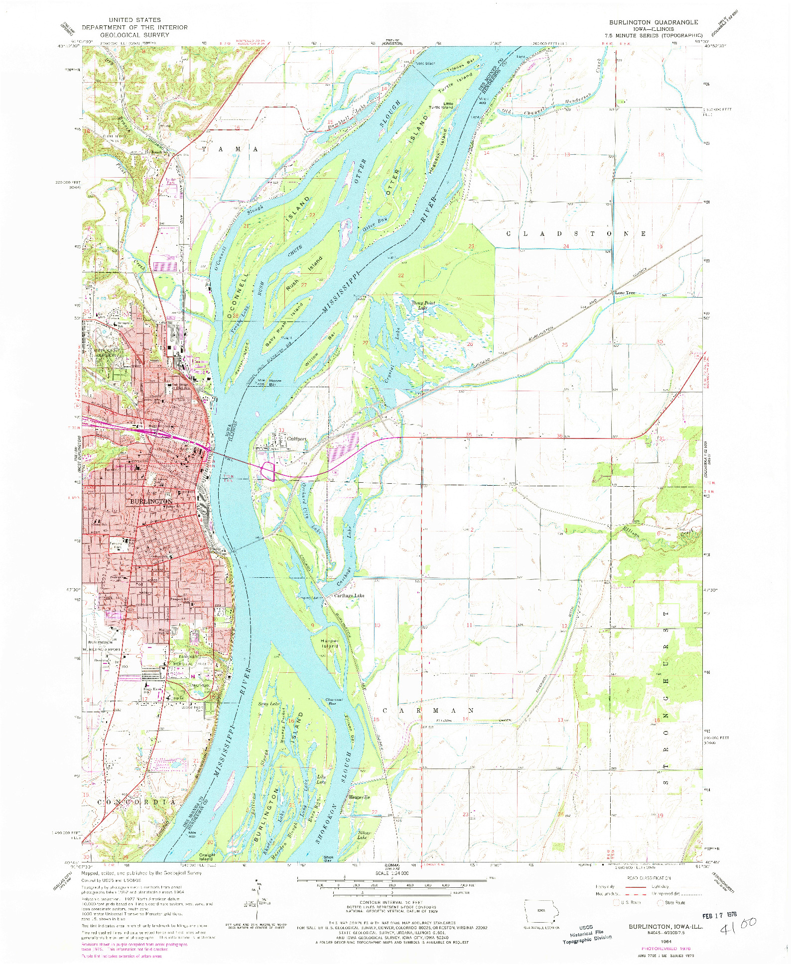 USGS 1:24000-SCALE QUADRANGLE FOR BURLINGTON, IA 1964