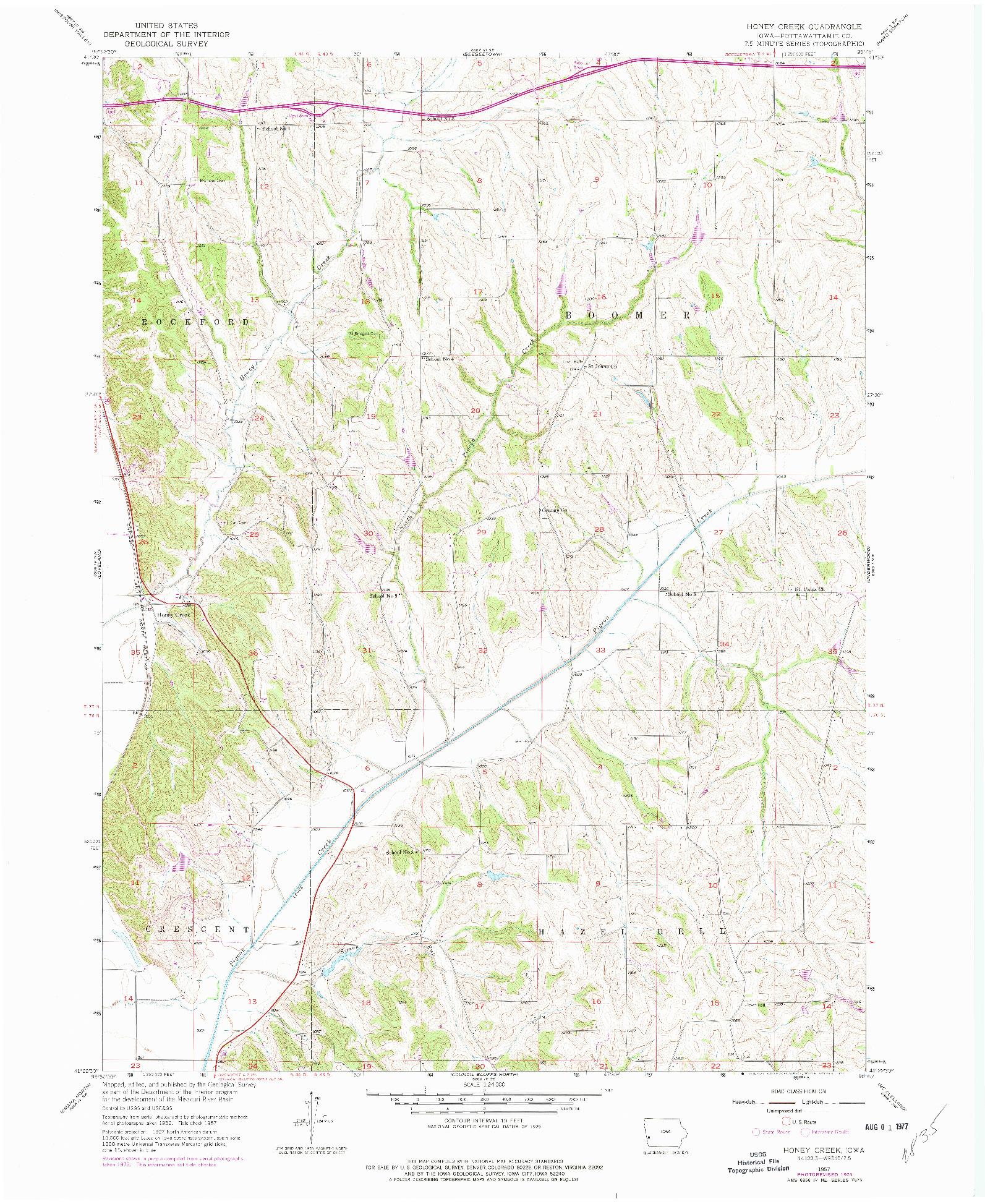 USGS 1:24000-SCALE QUADRANGLE FOR HONEY CREEK, IA 1957