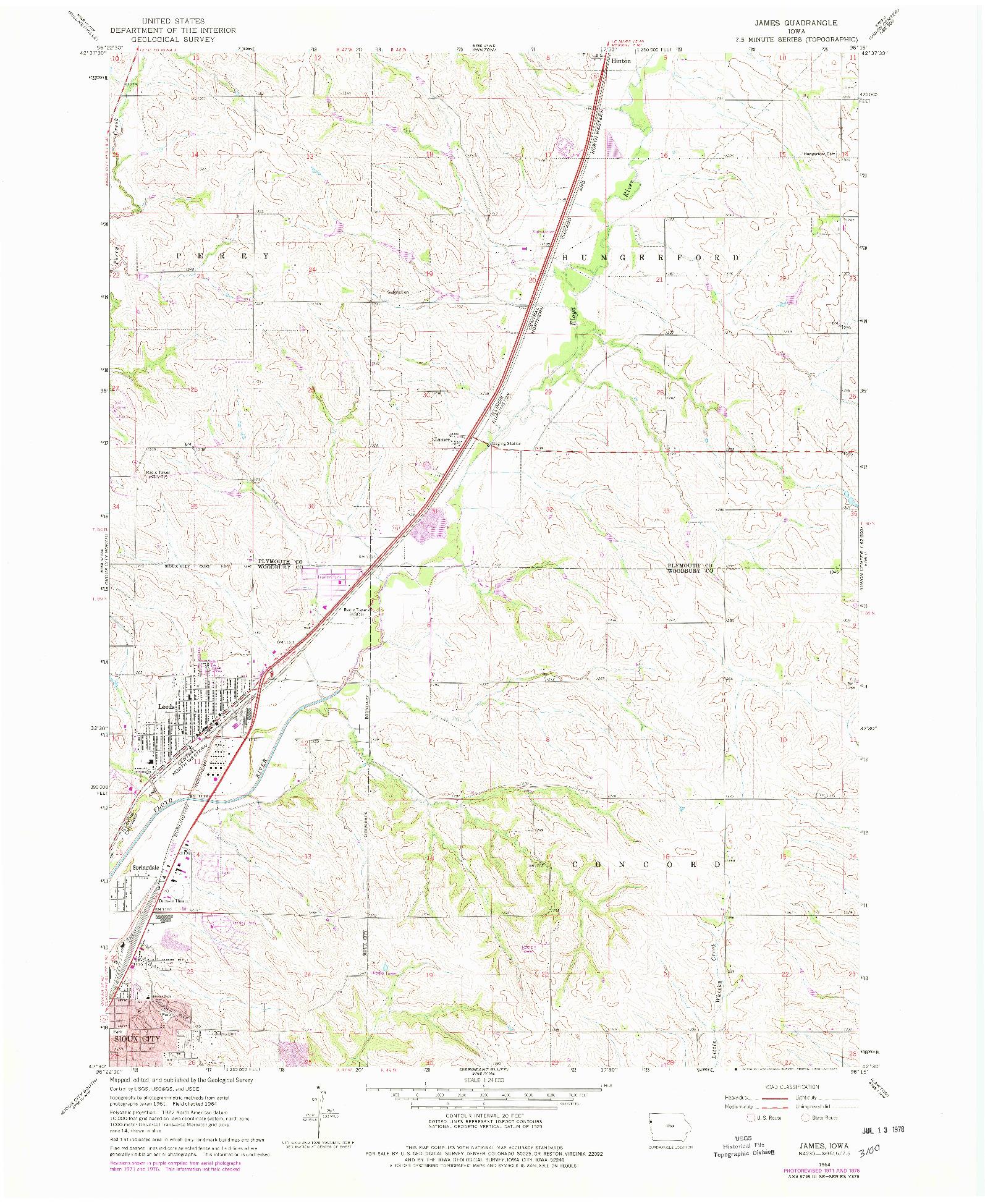 USGS 1:24000-SCALE QUADRANGLE FOR JAMES, IA 1964