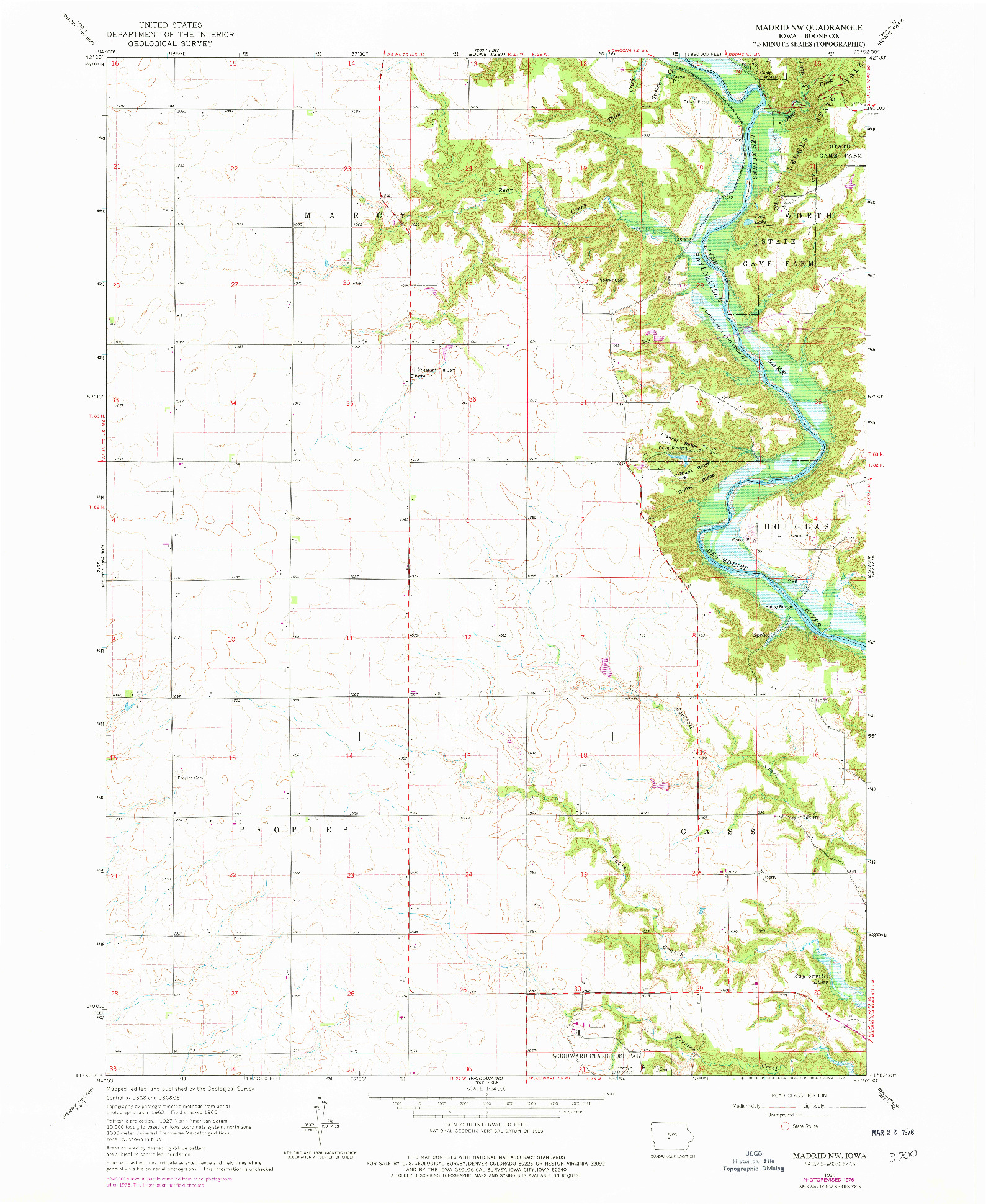 USGS 1:24000-SCALE QUADRANGLE FOR MADRID NW, IA 1965