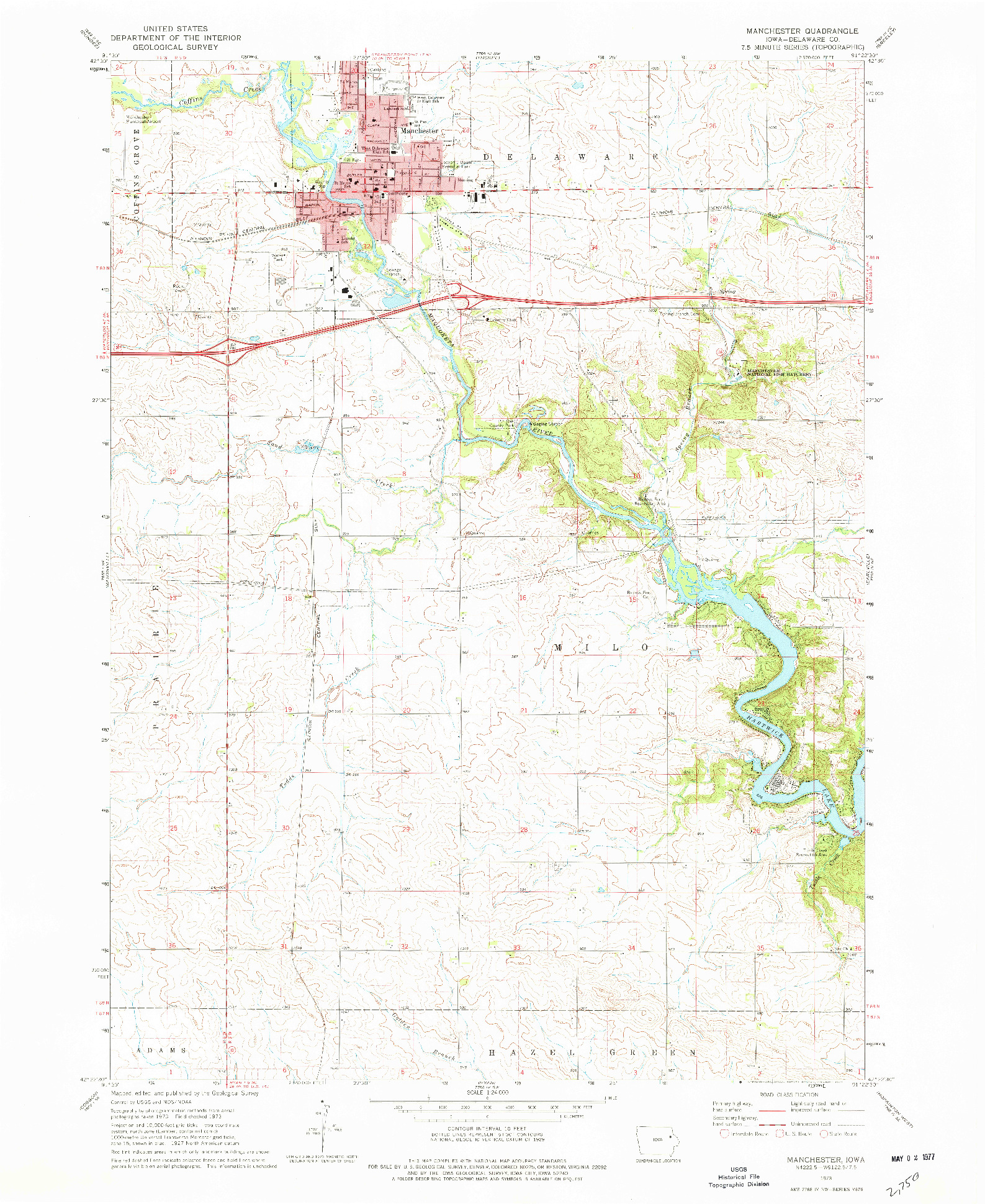 USGS 1:24000-SCALE QUADRANGLE FOR MANCHESTER, IA 1973