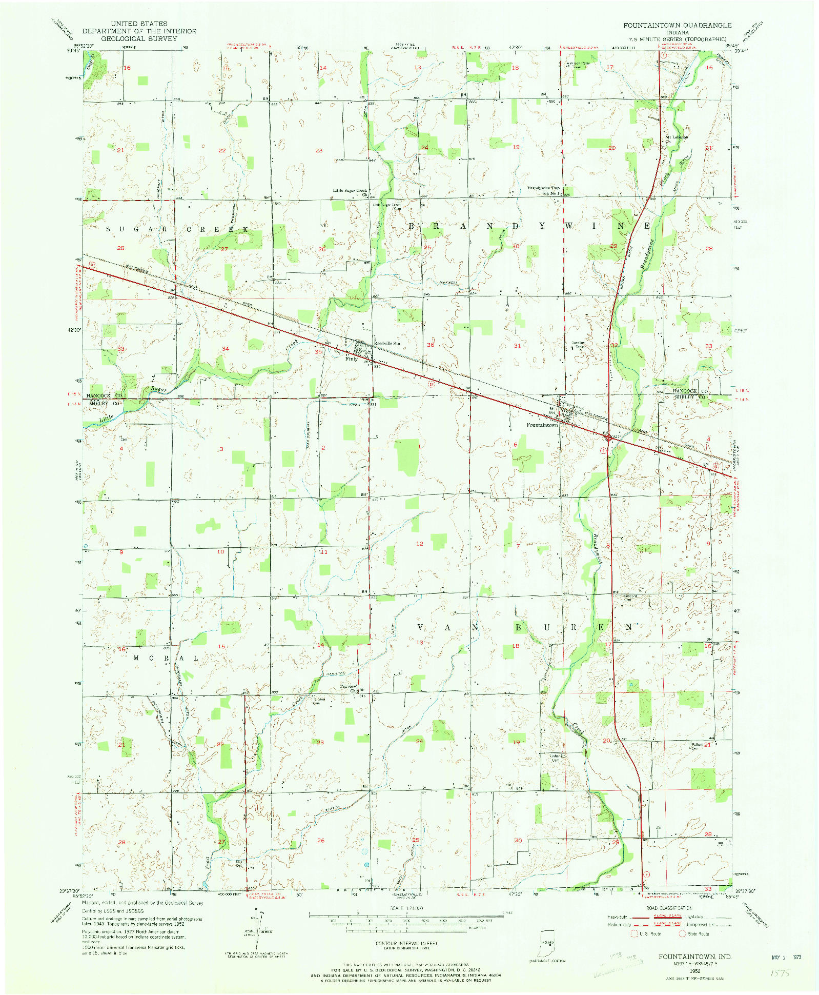 USGS 1:24000-SCALE QUADRANGLE FOR FOUNTAINTOWN, IN 1952