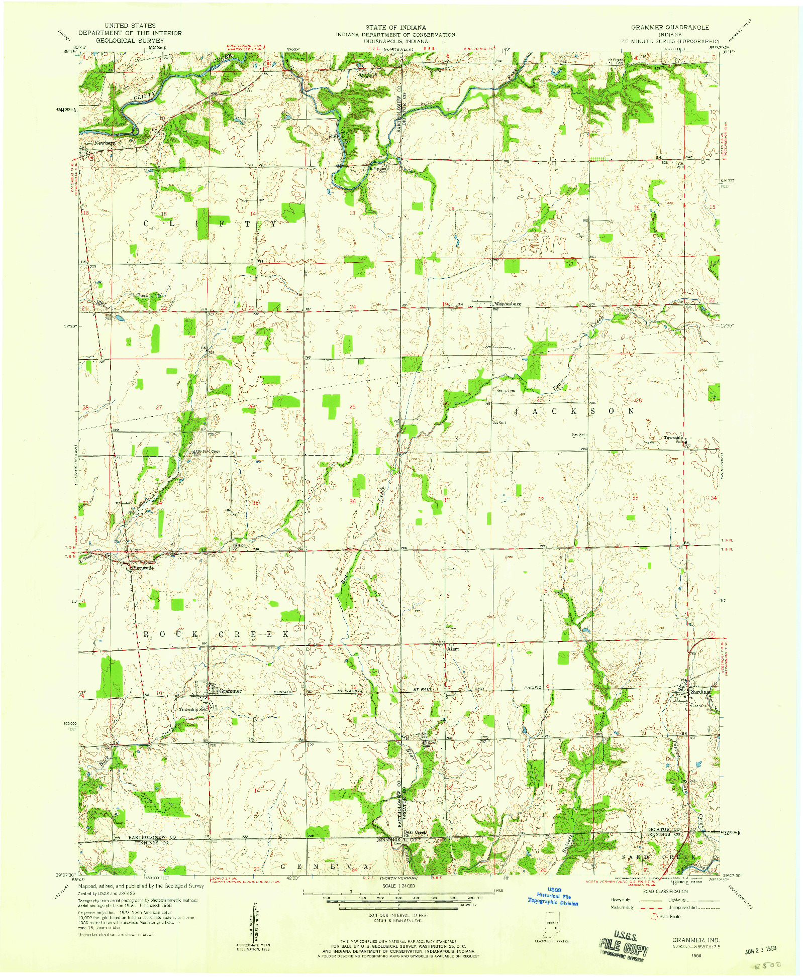 USGS 1:24000-SCALE QUADRANGLE FOR GRAMMER, IN 1958