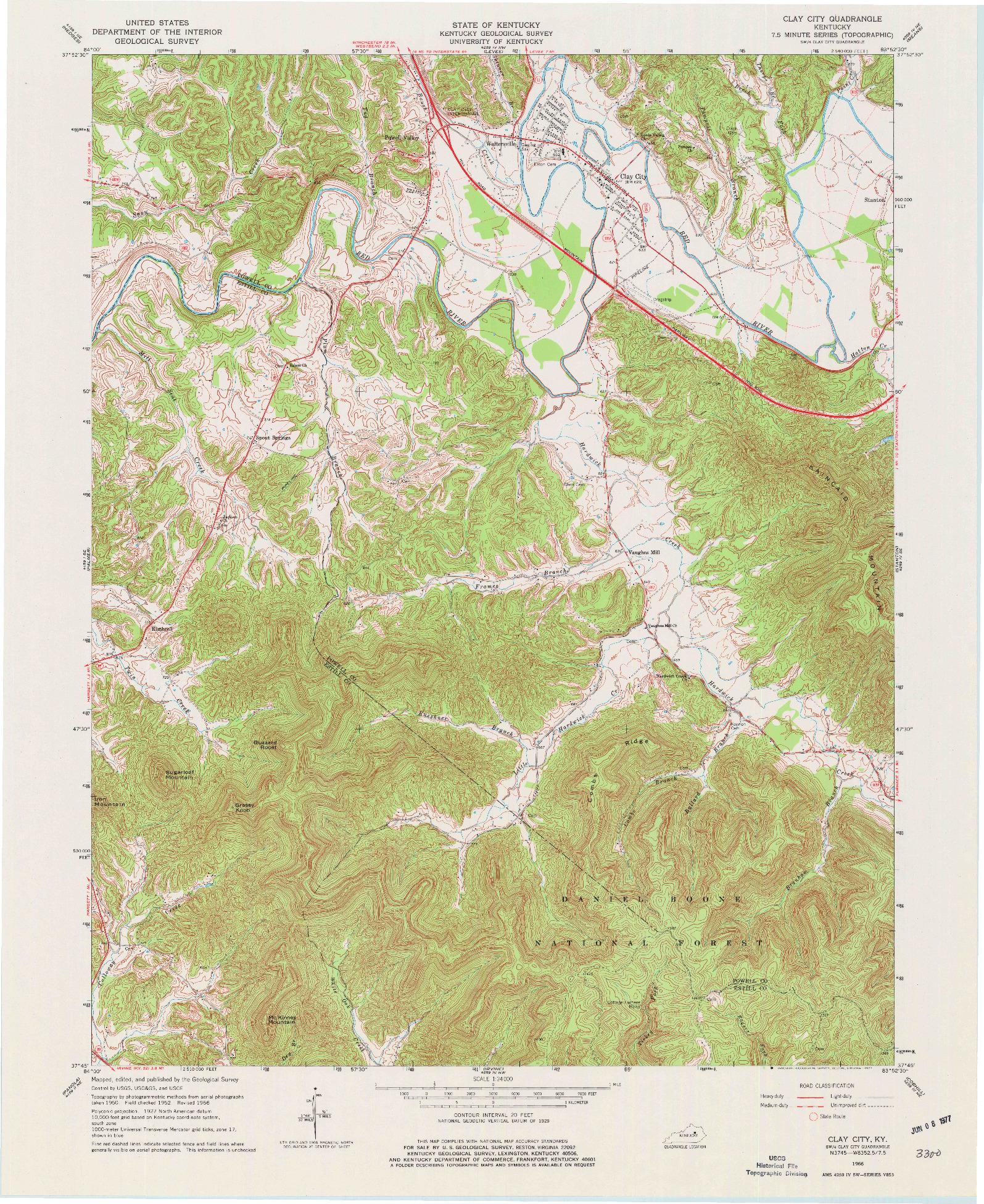USGS 1:24000-SCALE QUADRANGLE FOR CLAY CITY, KY 1966